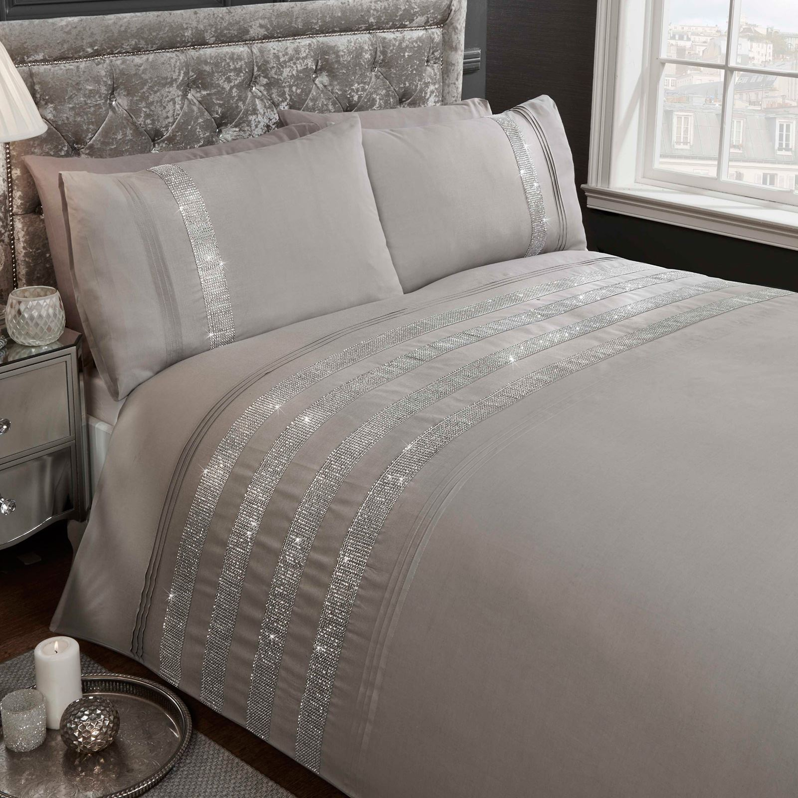 Carly diamante grey king size duvet cover set adult bedding set new