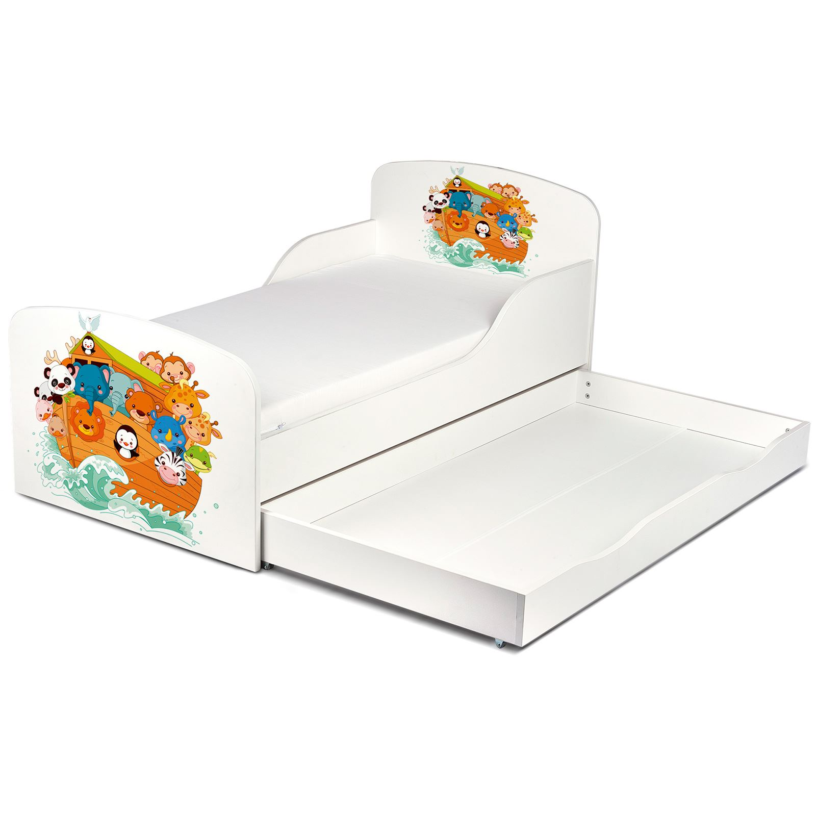 Price Right Home Noahs Ark Toddler Bed With Storage Fully Sprung Mattress New