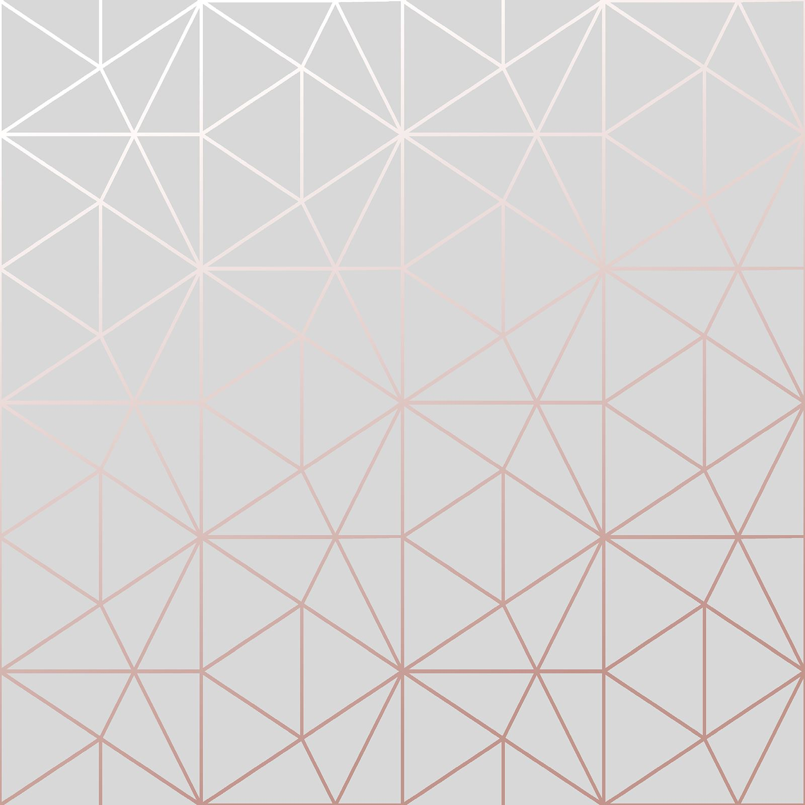 World Of Wallpaper Metro Prism Geometric Triangle Grey Rose Gold