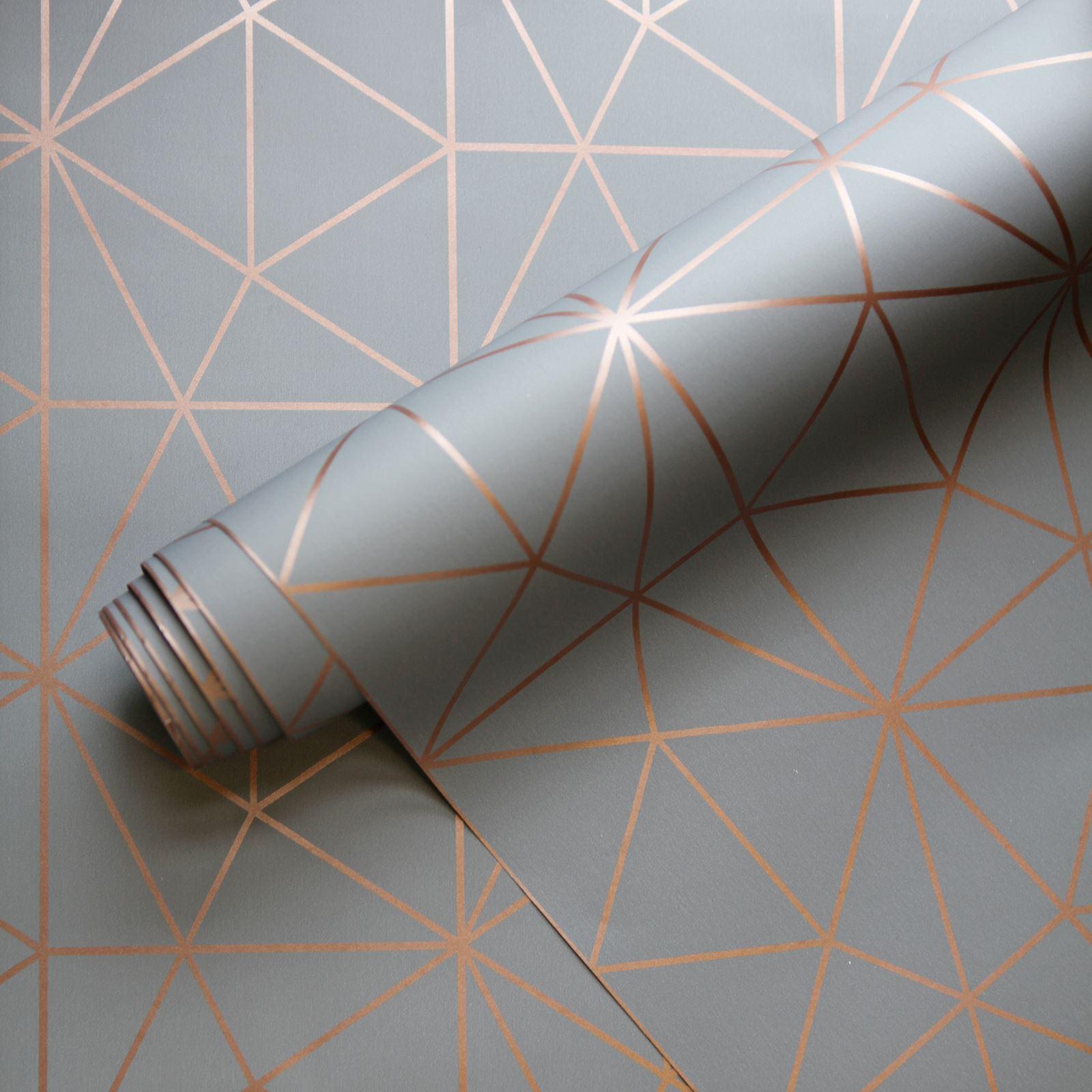 World Of Wallpaper Metro Prism Triangle Geometric Metallic