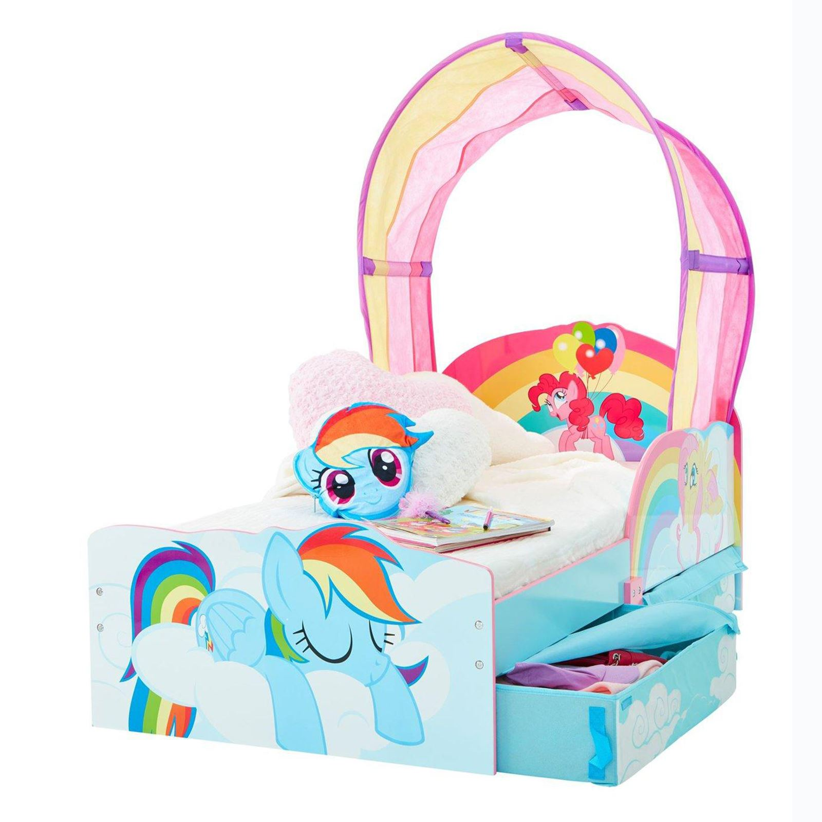 my little pony kleinkind junior bett mit unterbett aufbewahrung und regenbogen ebay. Black Bedroom Furniture Sets. Home Design Ideas