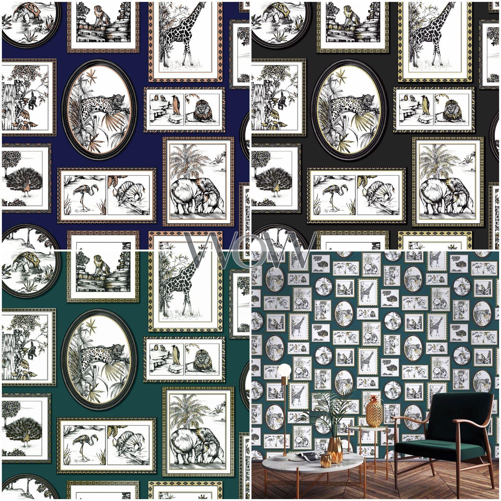 COPPER SAFARI FRAMES WALLPAPER NAVY HOLDEN 90072 ELEPHANT LION