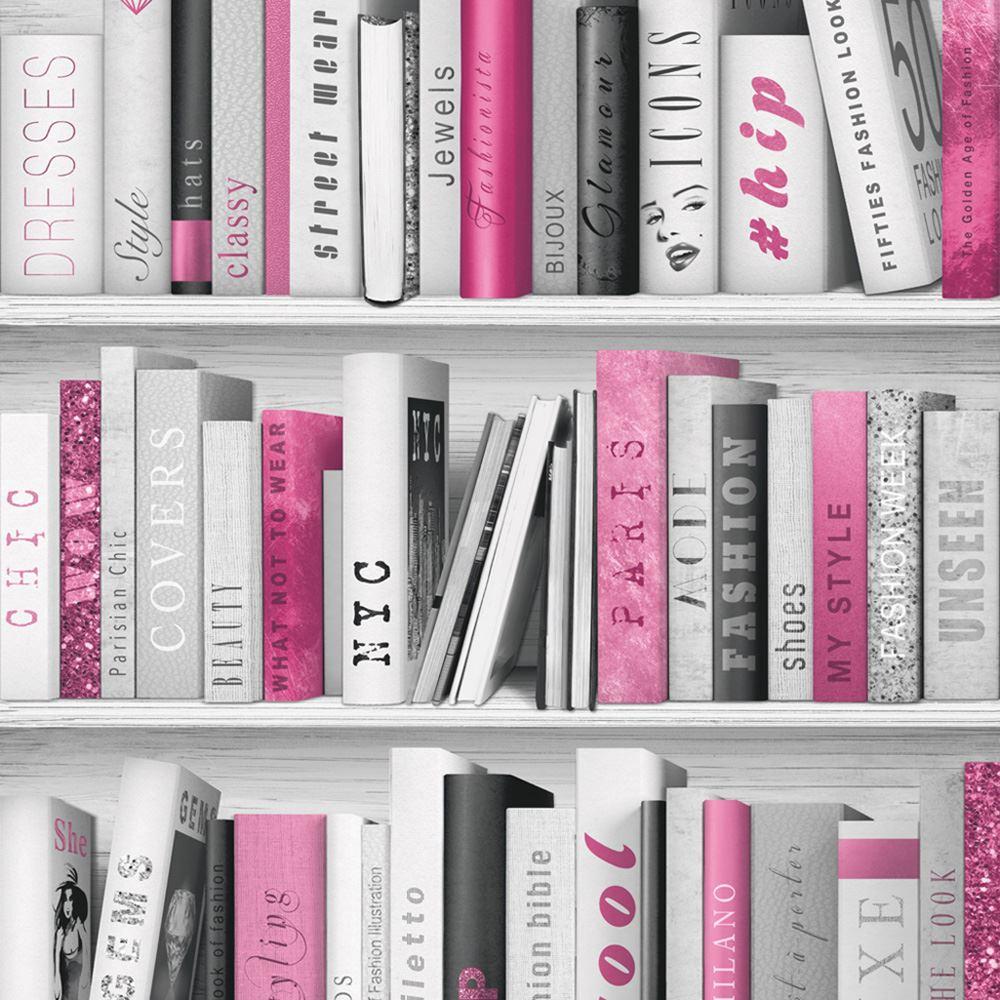 Pink Fashion Library Bookcase Wallpaper Muriva 139501 Glitter Books New 5060233005086 Ebay