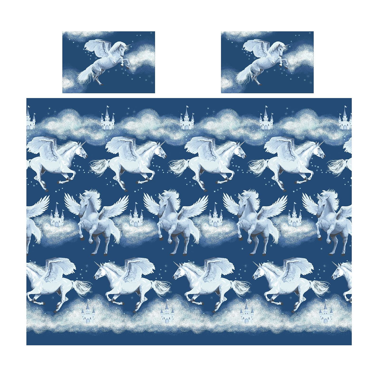 Stardust-Unicornio-Azul-Rosa-Cortinas-amp-Juego-Funda-Edredon-Menor-Simple-Doble miniatura 11