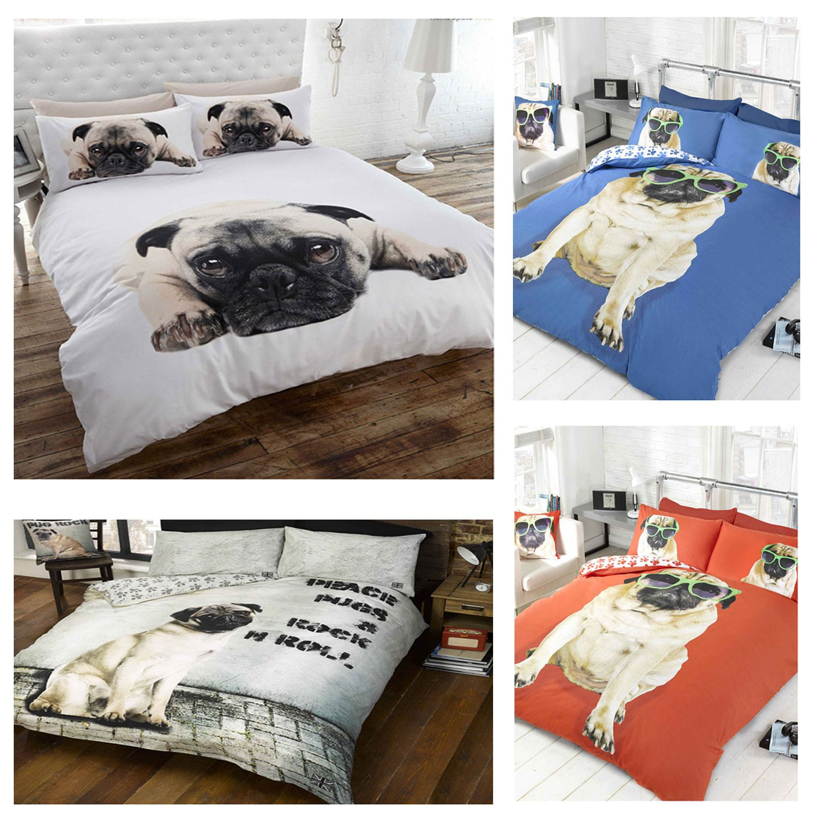 pug design duvet cover sets in single and double kids  adult  - pug design duvet cover sets in single and double kids  adult beddingbedroom