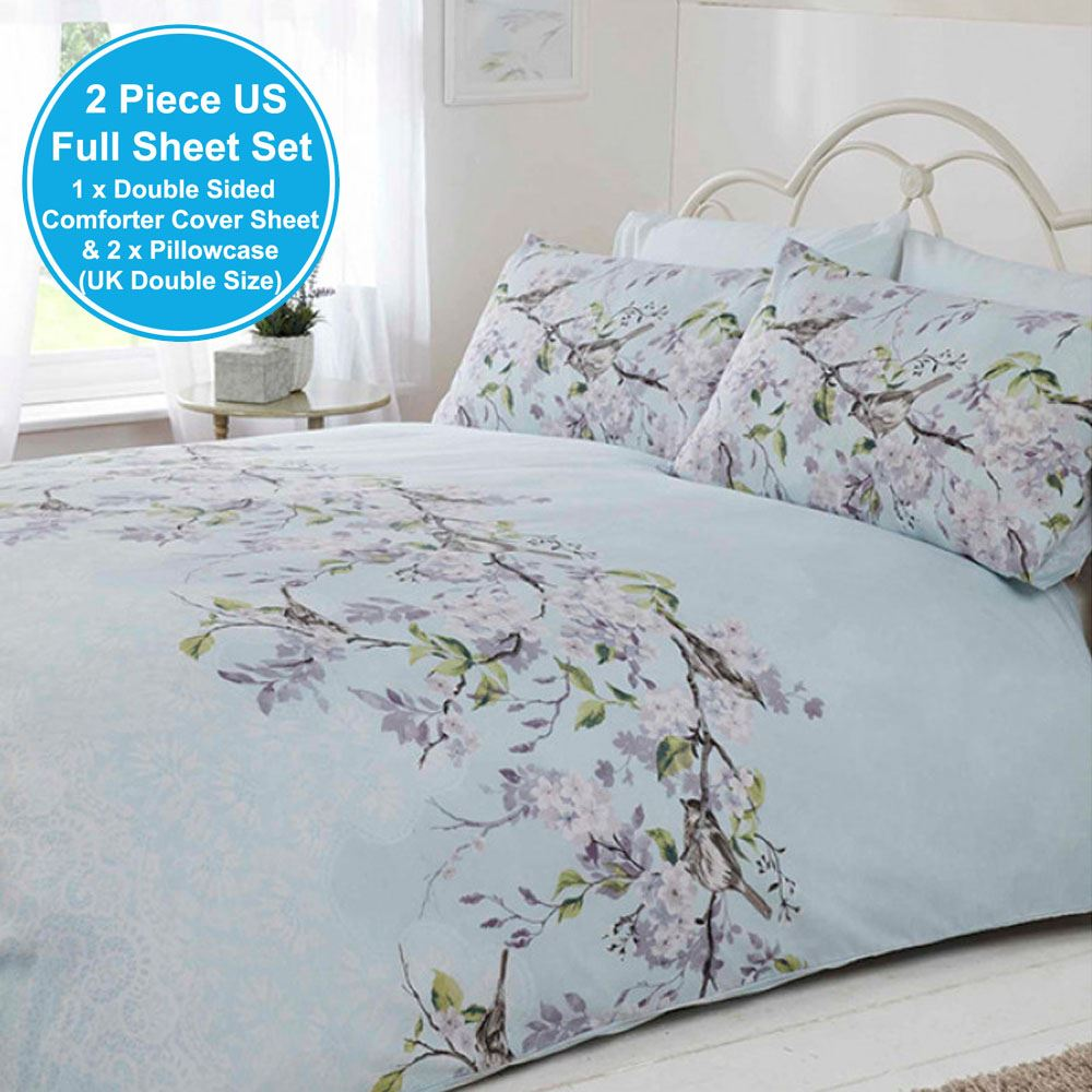 Eloise Floral Double Duvet Cover Amp Pillowcase Set Blue