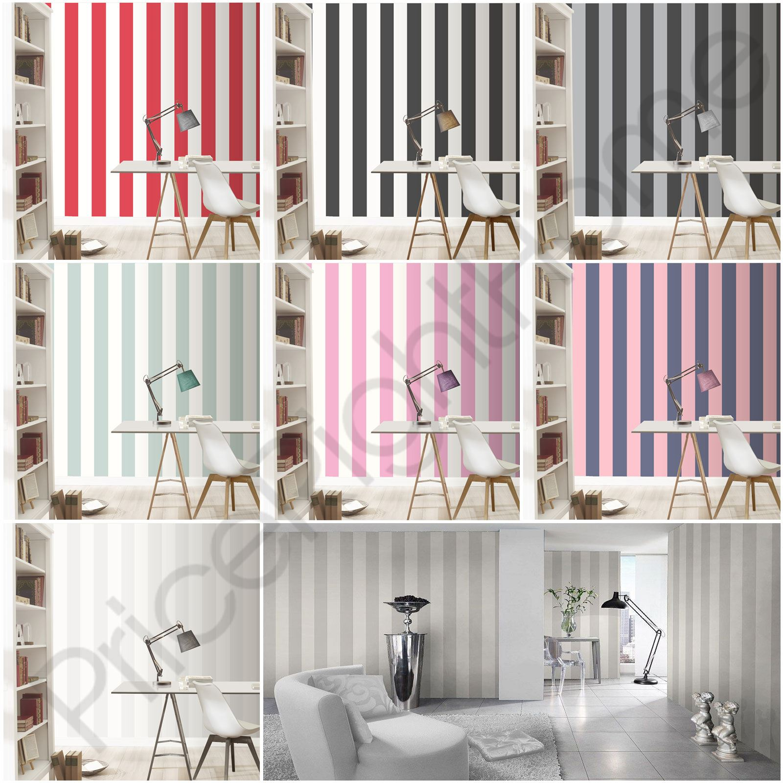 Rasch Wide Stripe Wallpaper Horizontal Vertical White