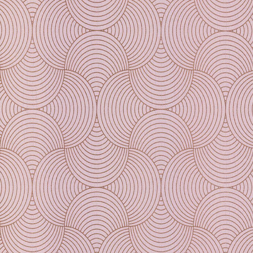 rotgold pink tapete metallisch weich texturiert streifen. Black Bedroom Furniture Sets. Home Design Ideas