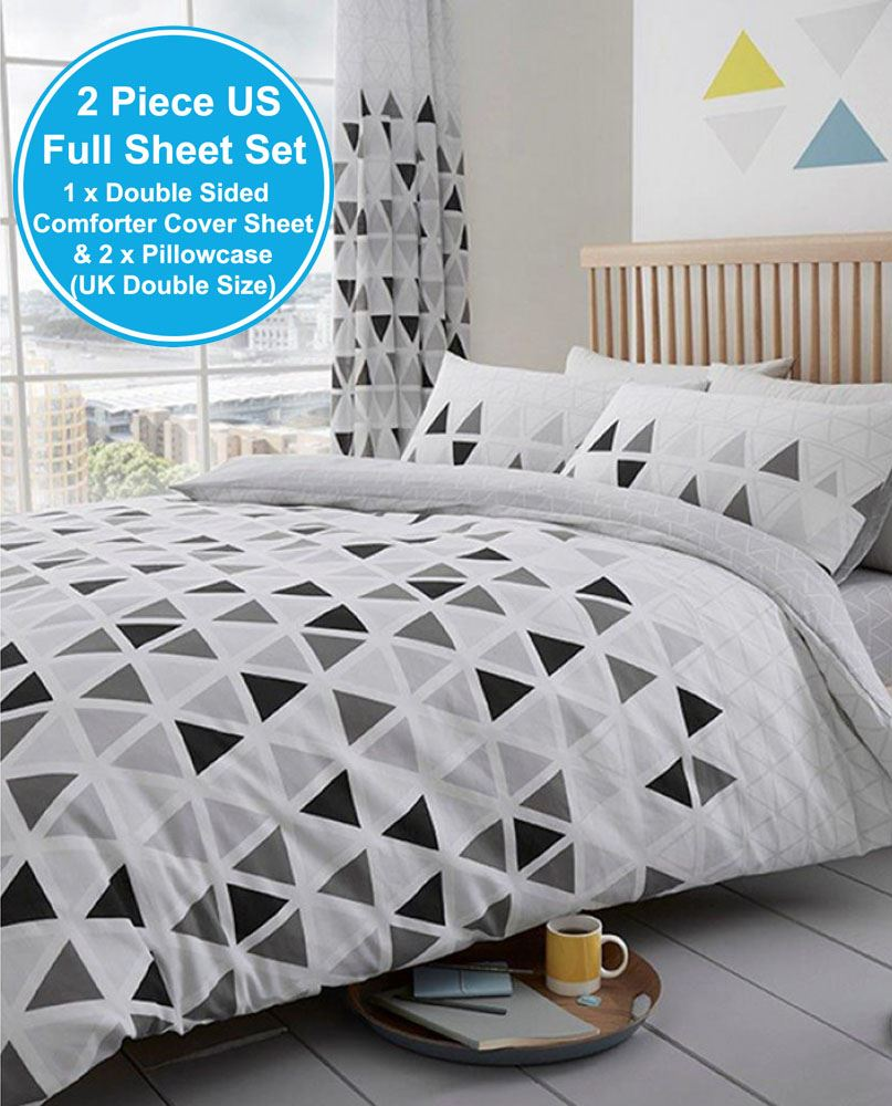 Geo Triangle Double Duvet Cover Set Geometric Bedding White Grey 2 In 1 Design 5051346147596 Ebay