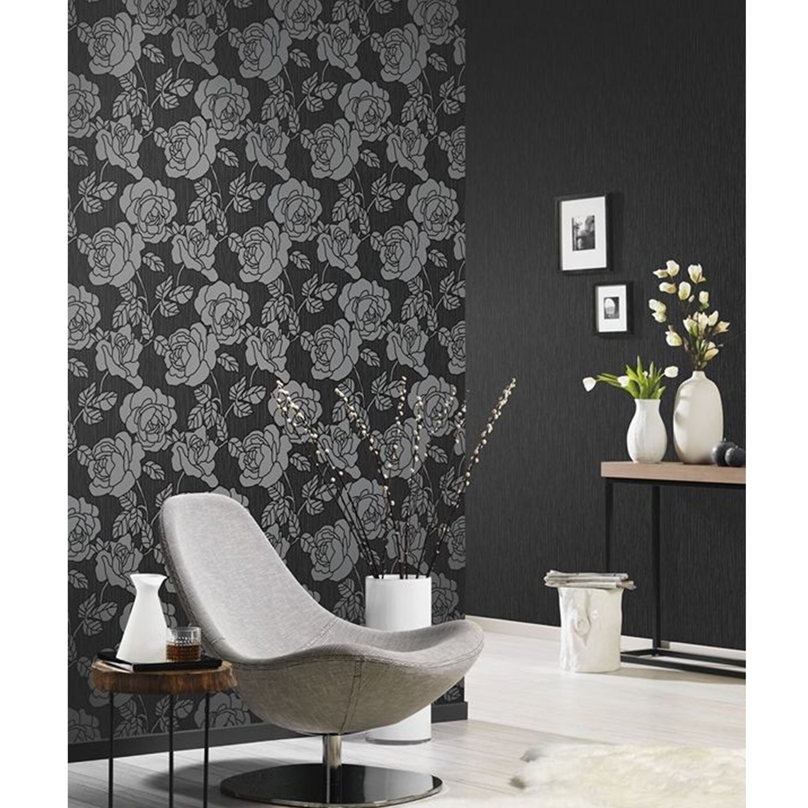 P S Opal Floral Wallpaper With Glitter Highlights Black Grey Cream