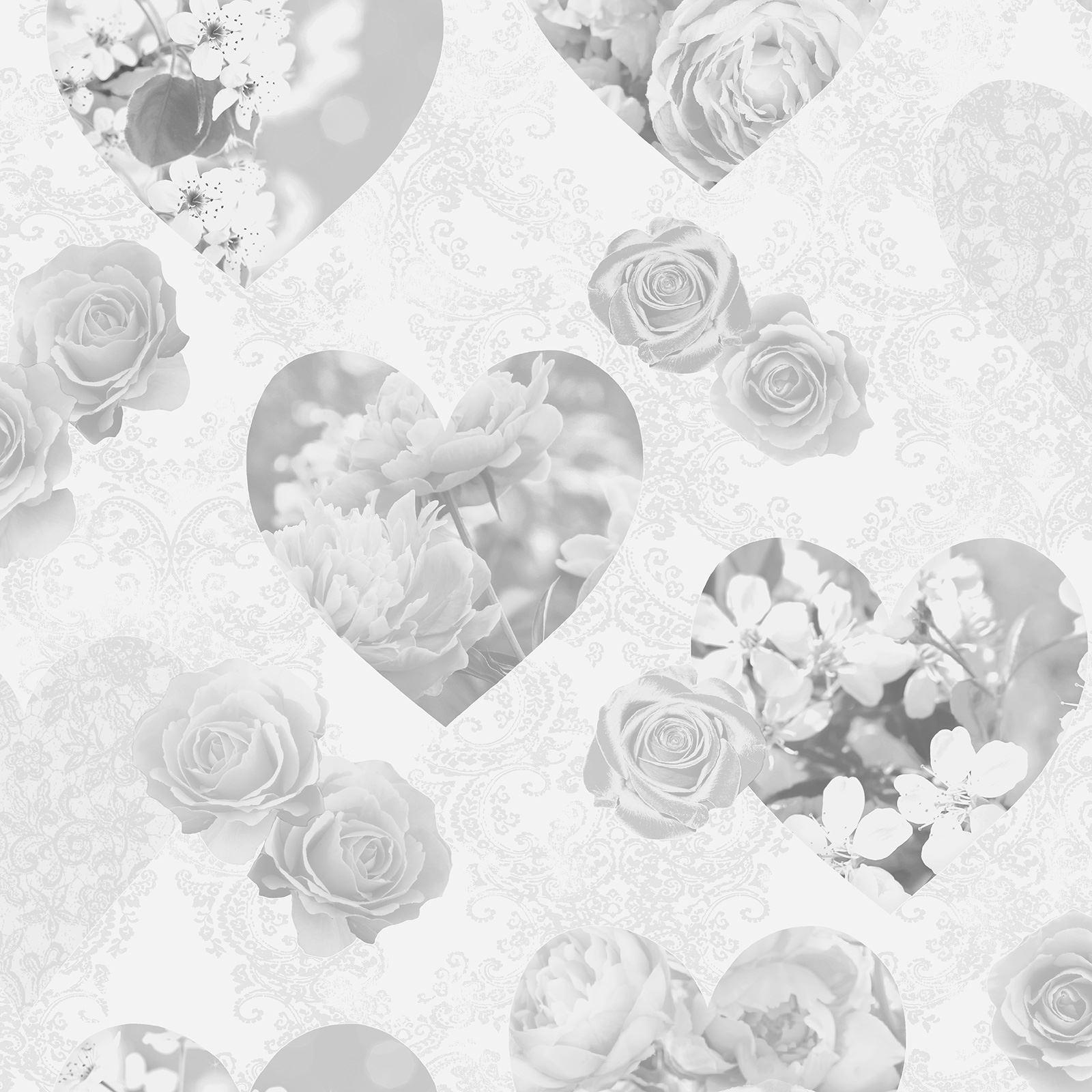 Rose Blanc Floral Pailleté Papier Peint Papillons Coeurs Filles Fleurs Arthouse