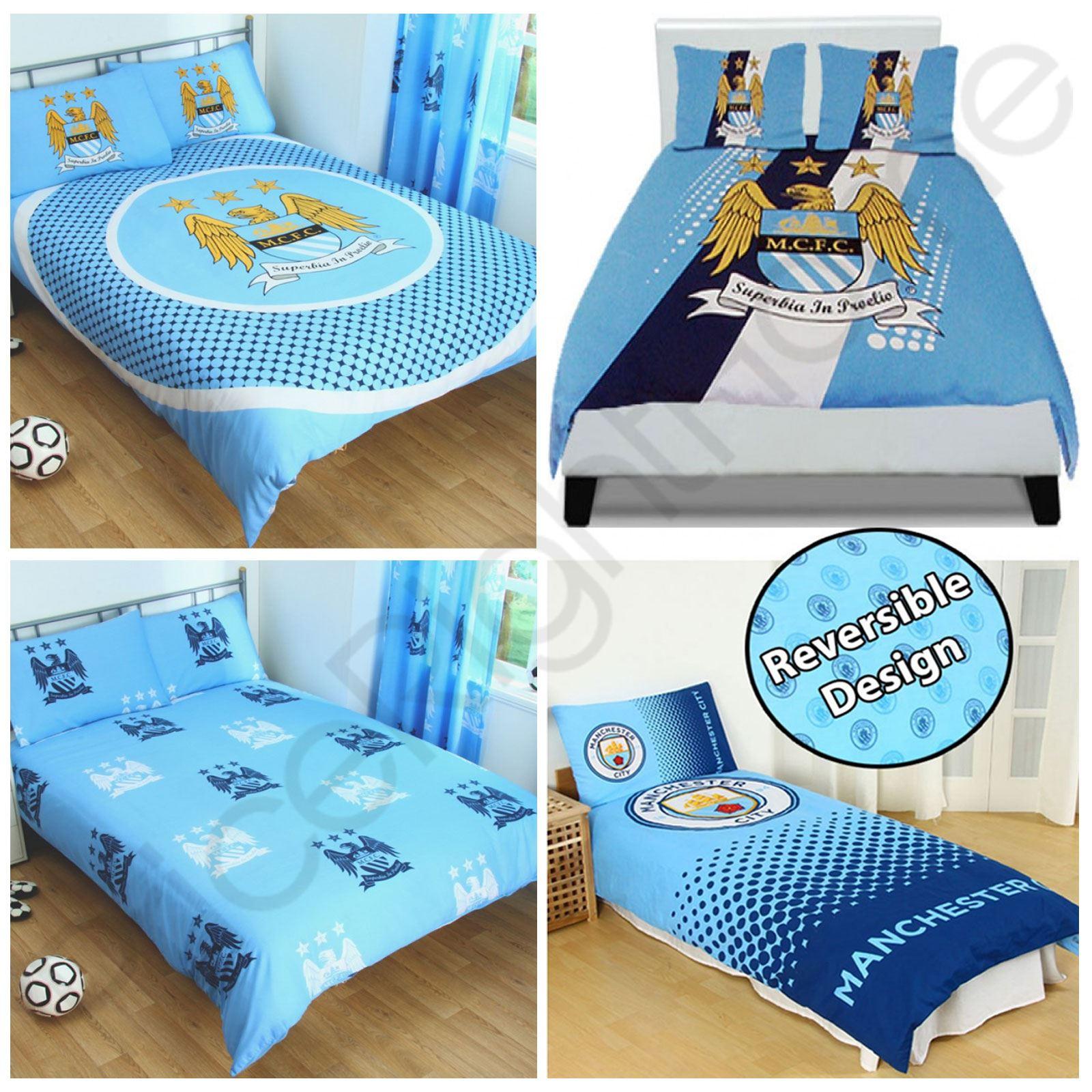 FC Manchester City Estampado De Rayas 100/% Poliéster Juego de cama de edredón doble