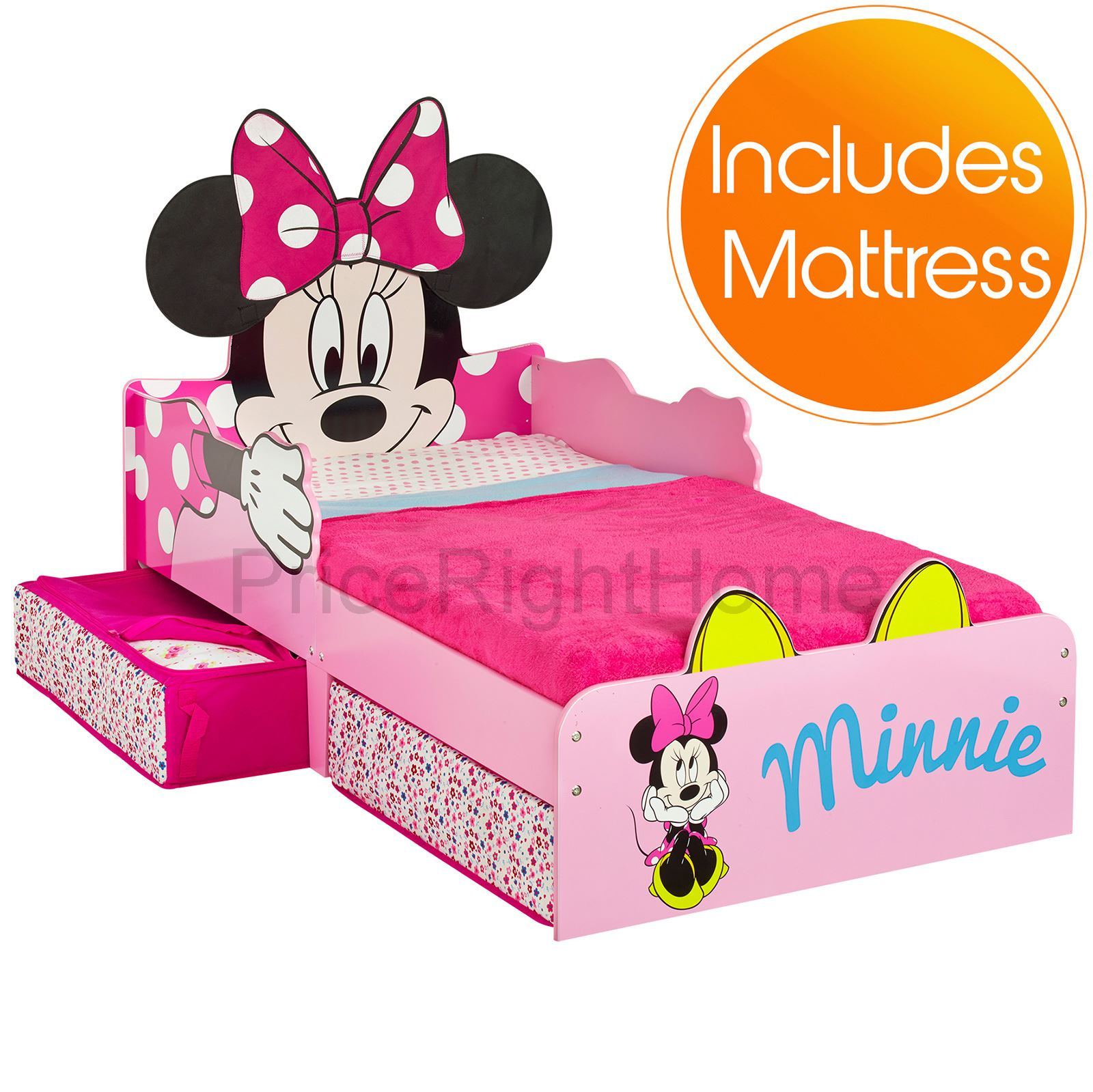 MINNIE MOUSE TODDLER BED WITH UNDERBED STORAGE KIDS GIRLS