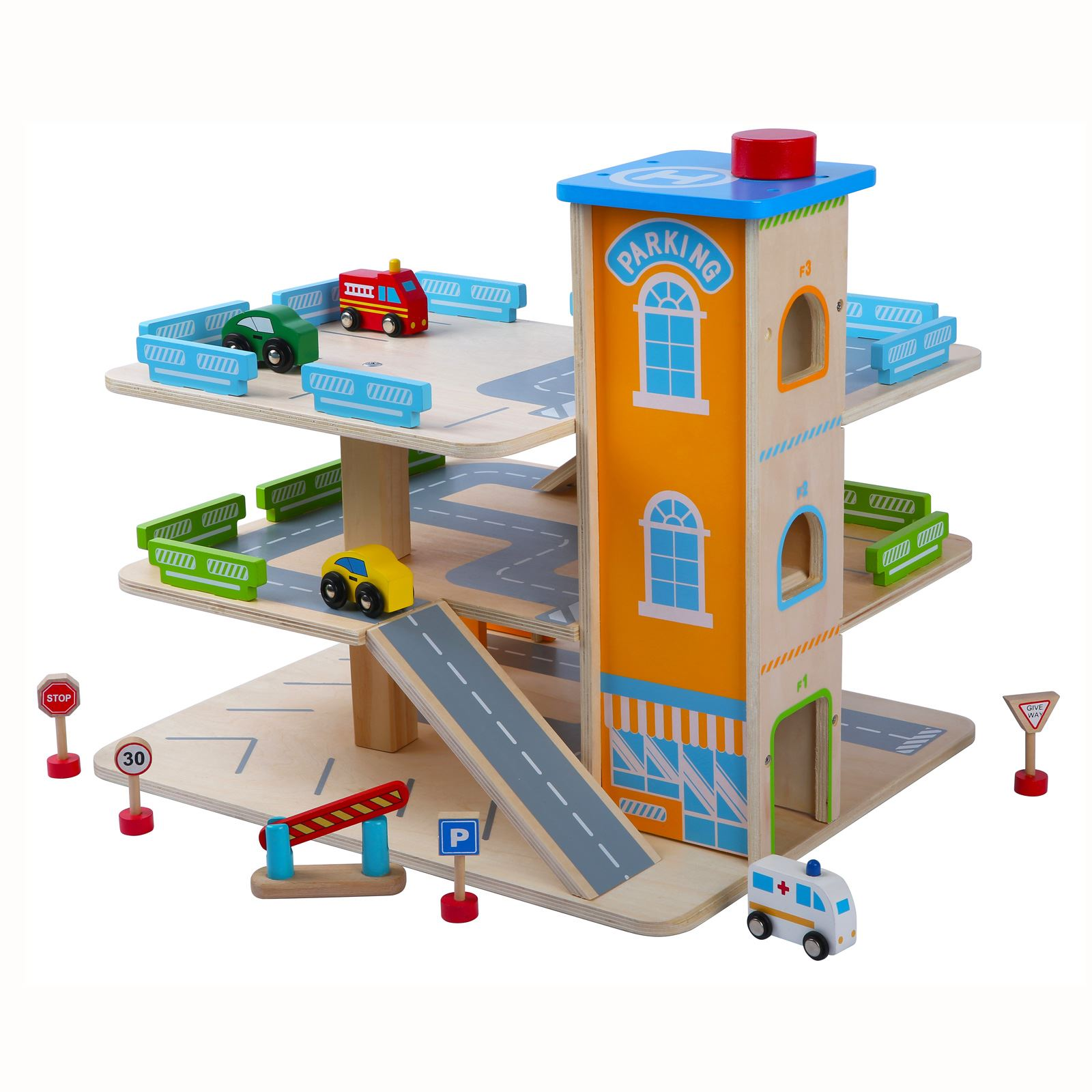 Wooden Car Park Garage With Lift Fun Toy Cars Ebay