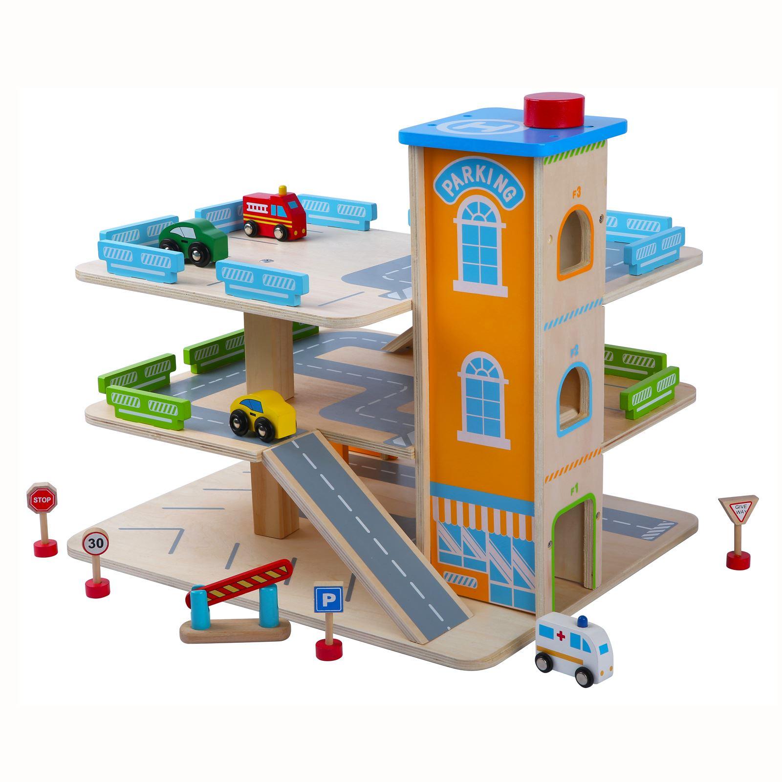 wooden car park garage with lift fun toy cars ebay. Black Bedroom Furniture Sets. Home Design Ideas