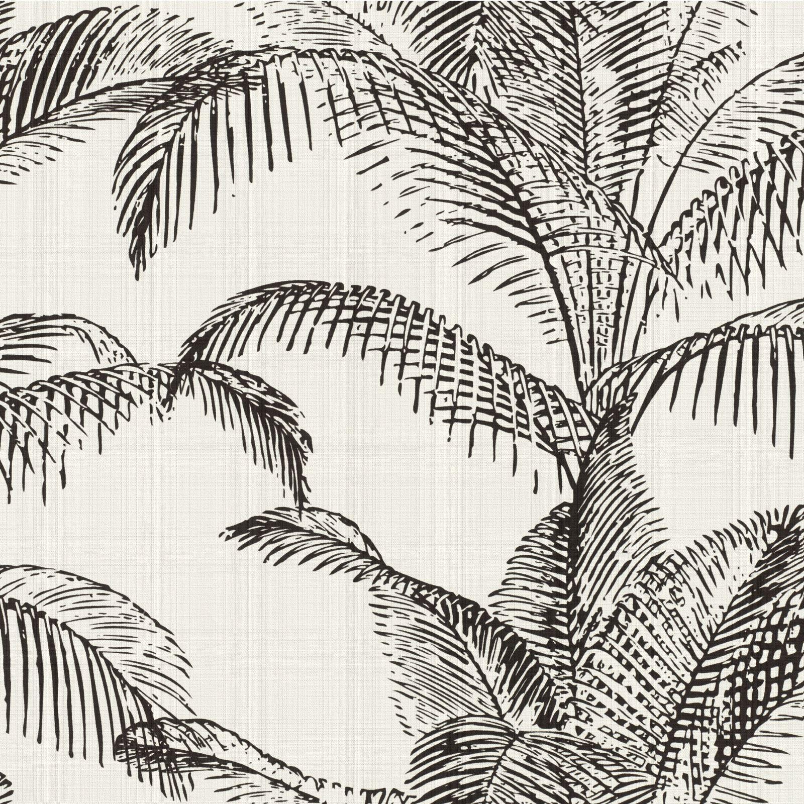 Rasch Banana Fruit Tree Palm Leaves Leaf Wallpaper Luxury Black Grey Non Woven