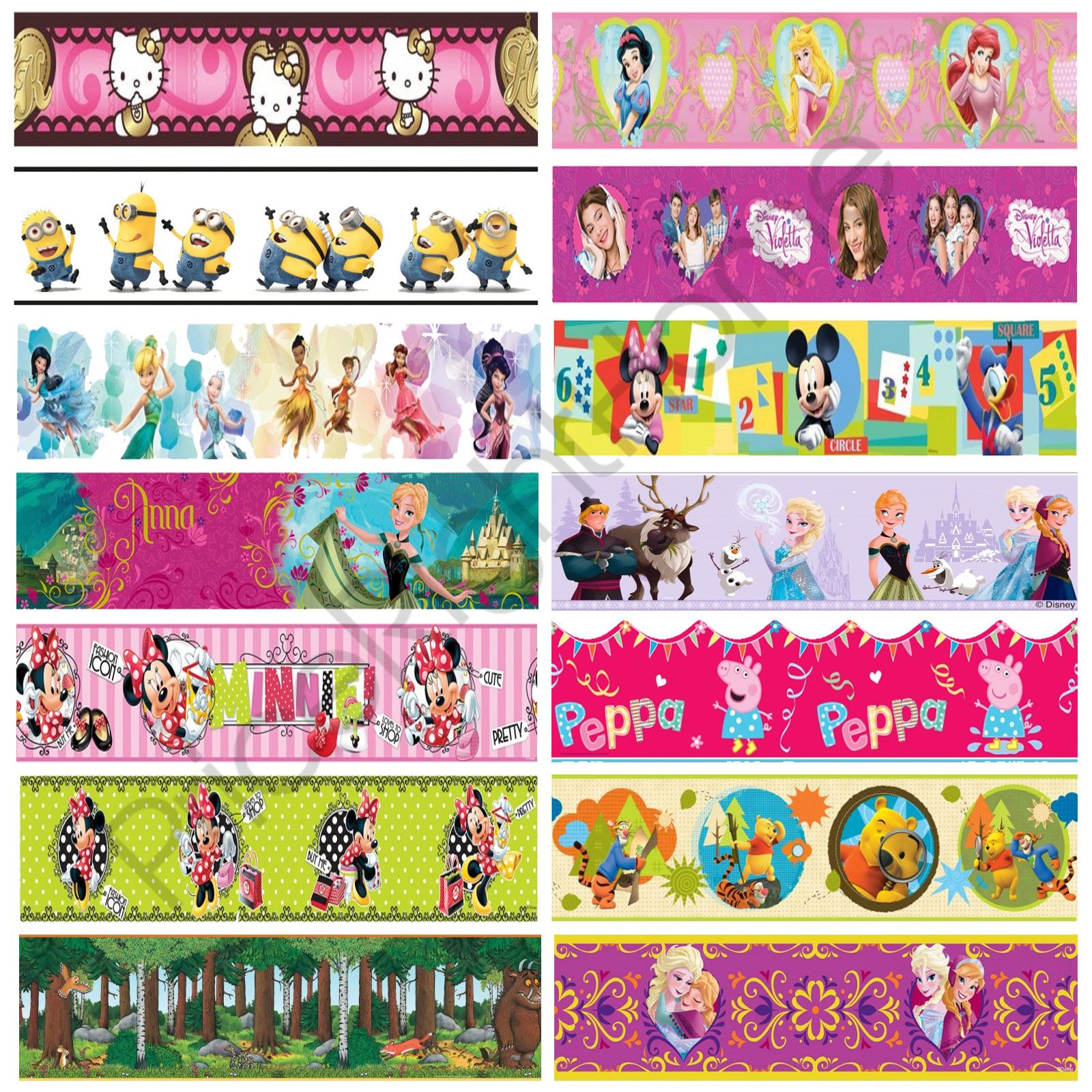 Details About Girls Character Self Adhesive Wallpaper Borders Disney Frozen Minnie Pooh More