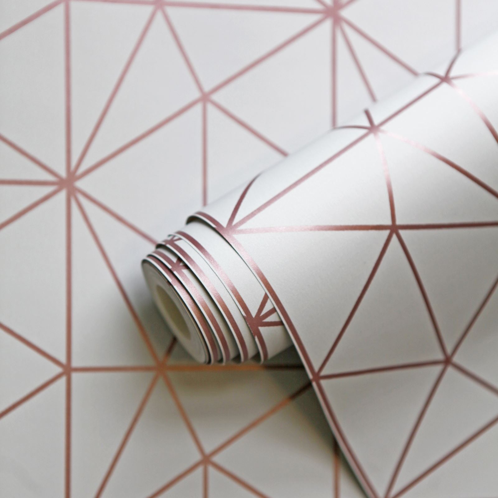 Metro Prism Geometric Triangle Wallpaper Grey Rose Gold Wow009