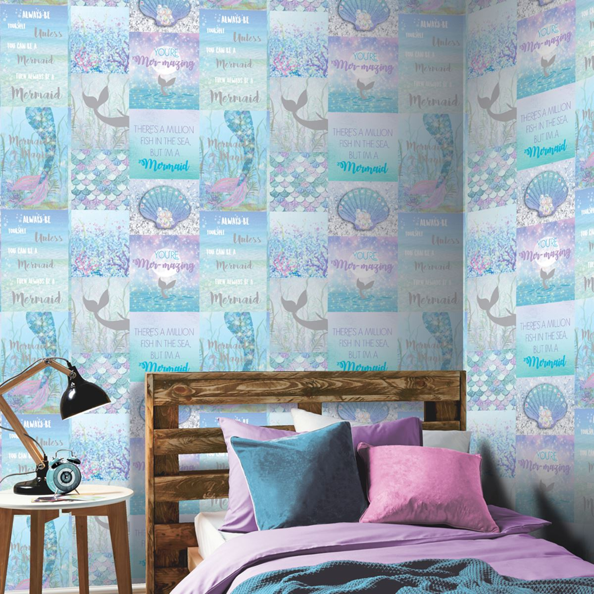 Kids Bedroom Teal Wallpaper Girls Nursery Decor Unicorns Mermaids And More Ebay