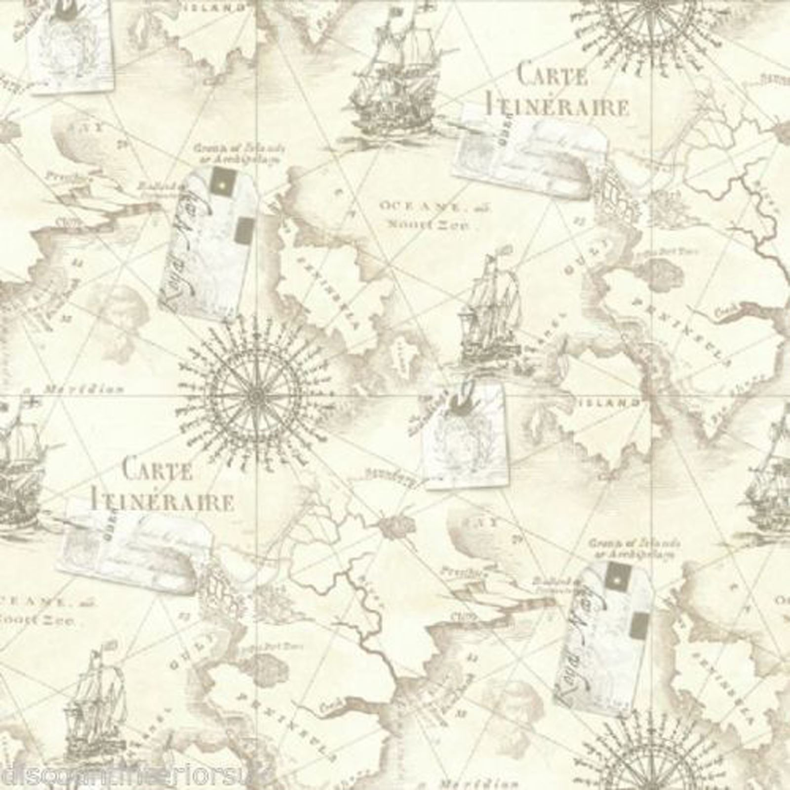 NAVIGATOR VINTAGE MAP GLOBETROTTER WALLPAPER ARTHOUSE HOLDEN GREY NATURAL