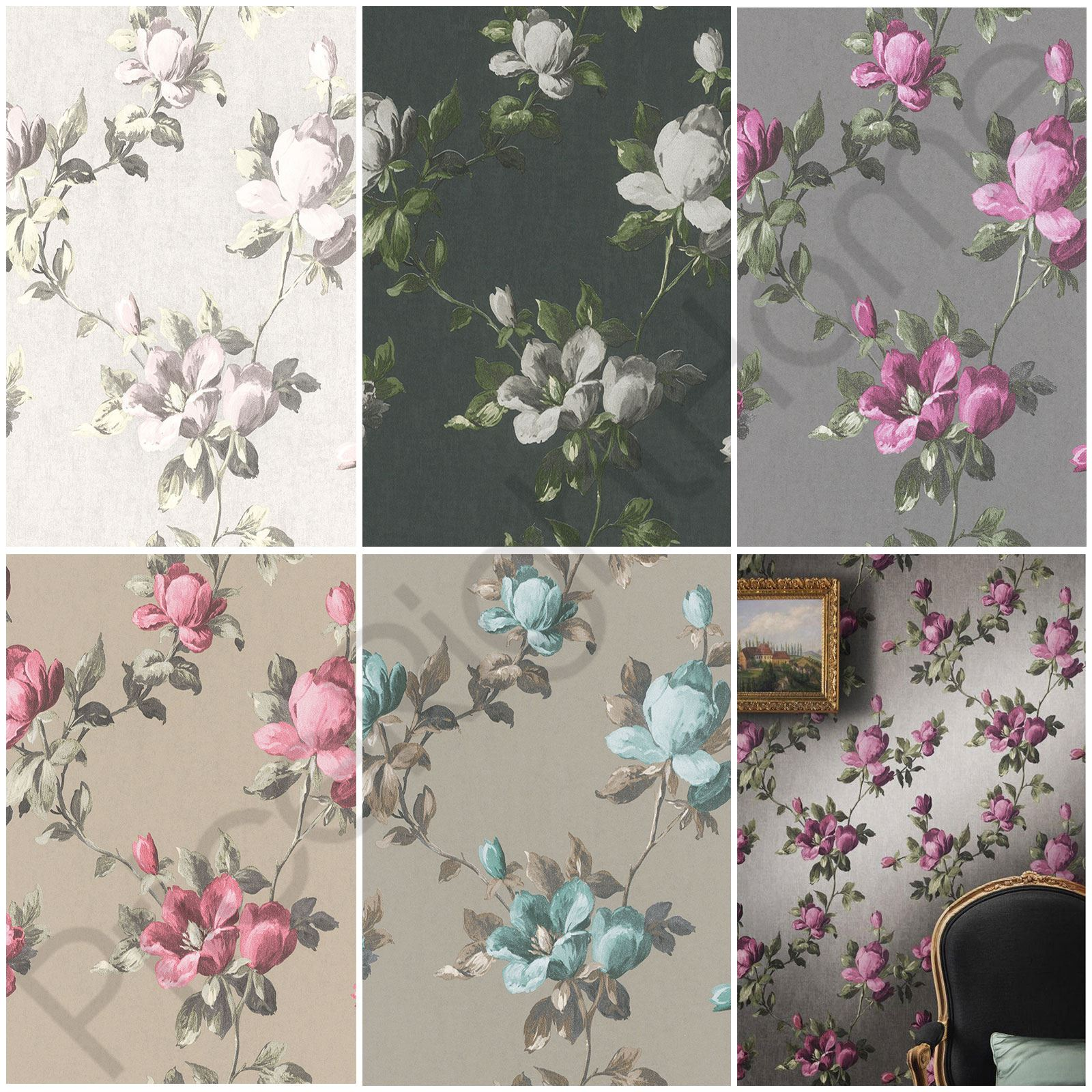 Rasch Emilia Rose Floral Wallpaper Flowers Metallic Gold Cream