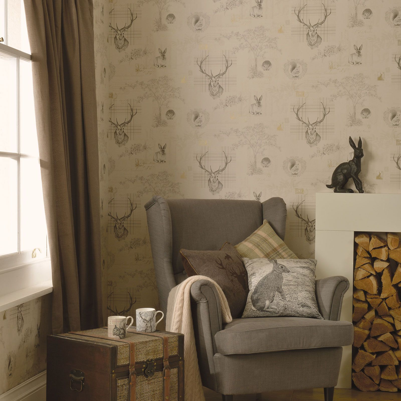 Stunning Stag Wallpaper Various Designs In Soft Natural
