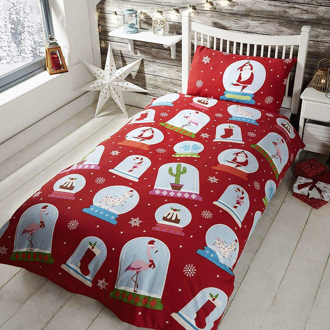 Christmas Bedding.Details About Snow Globe Christmas Single Duvet Cover Set Red Bedding Kids
