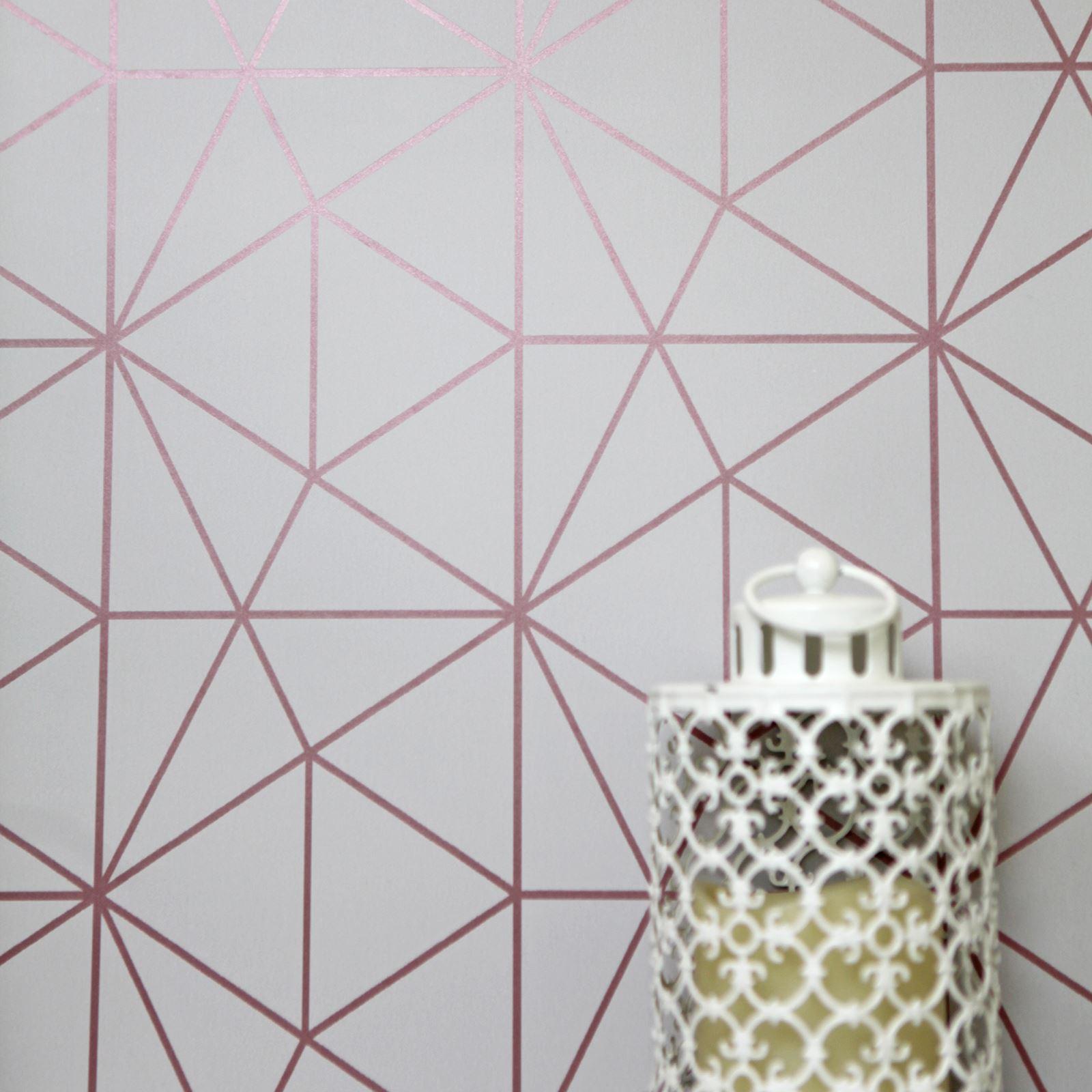 m tro prisme g om trique triangle papier peint gris dor rose wow009 luxe ebay. Black Bedroom Furniture Sets. Home Design Ideas