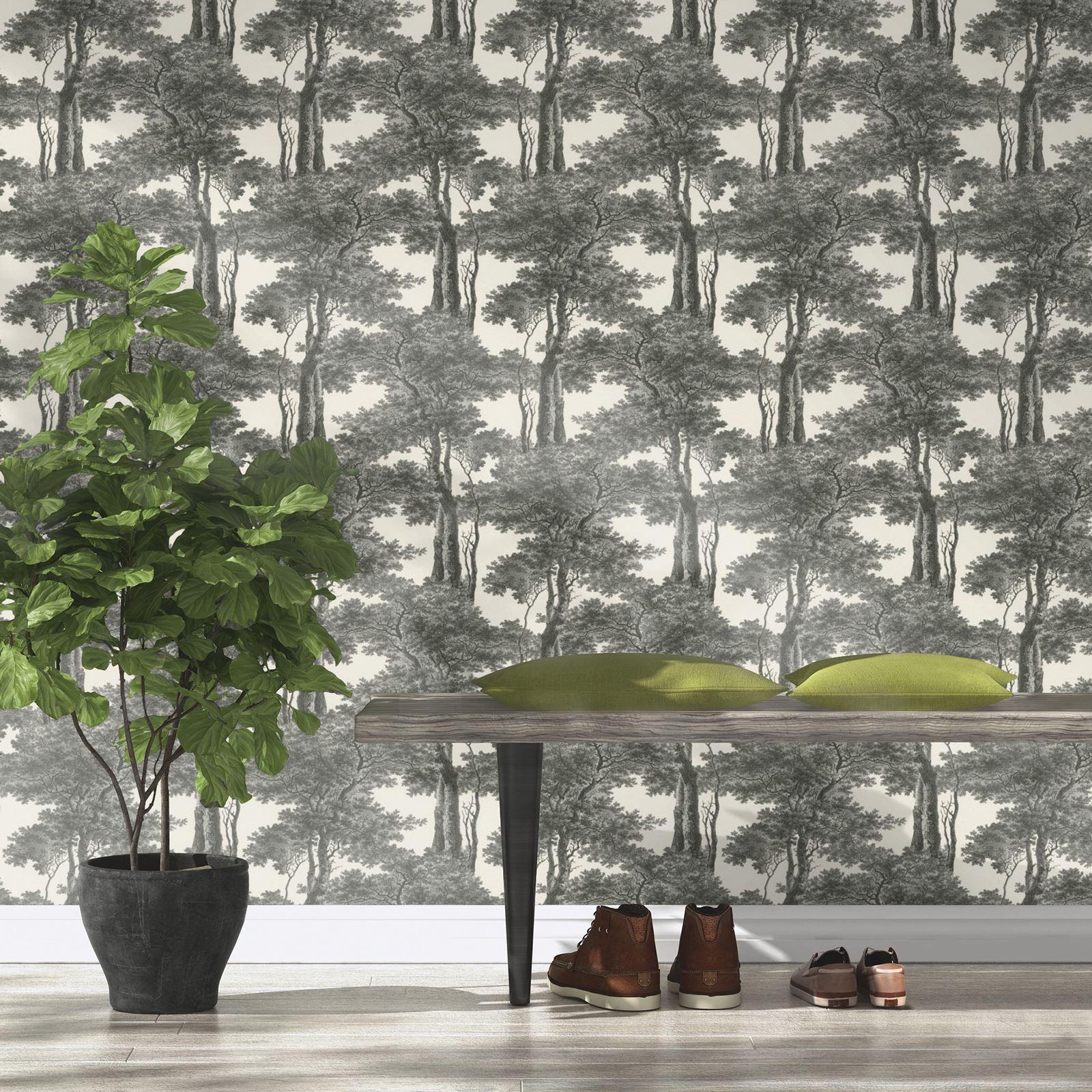 Passepartout Trees Wallpaper Black White Rasch 605419 Ebay