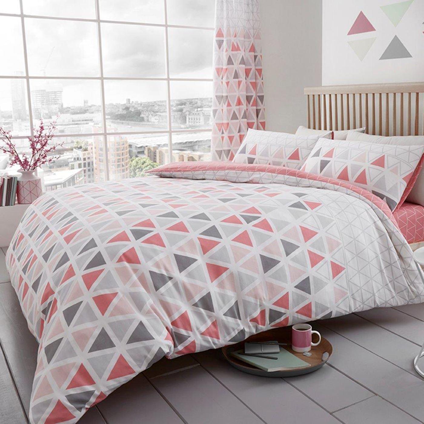 geo triangle set housse de couette simple r versible g om trique literie rose ebay. Black Bedroom Furniture Sets. Home Design Ideas