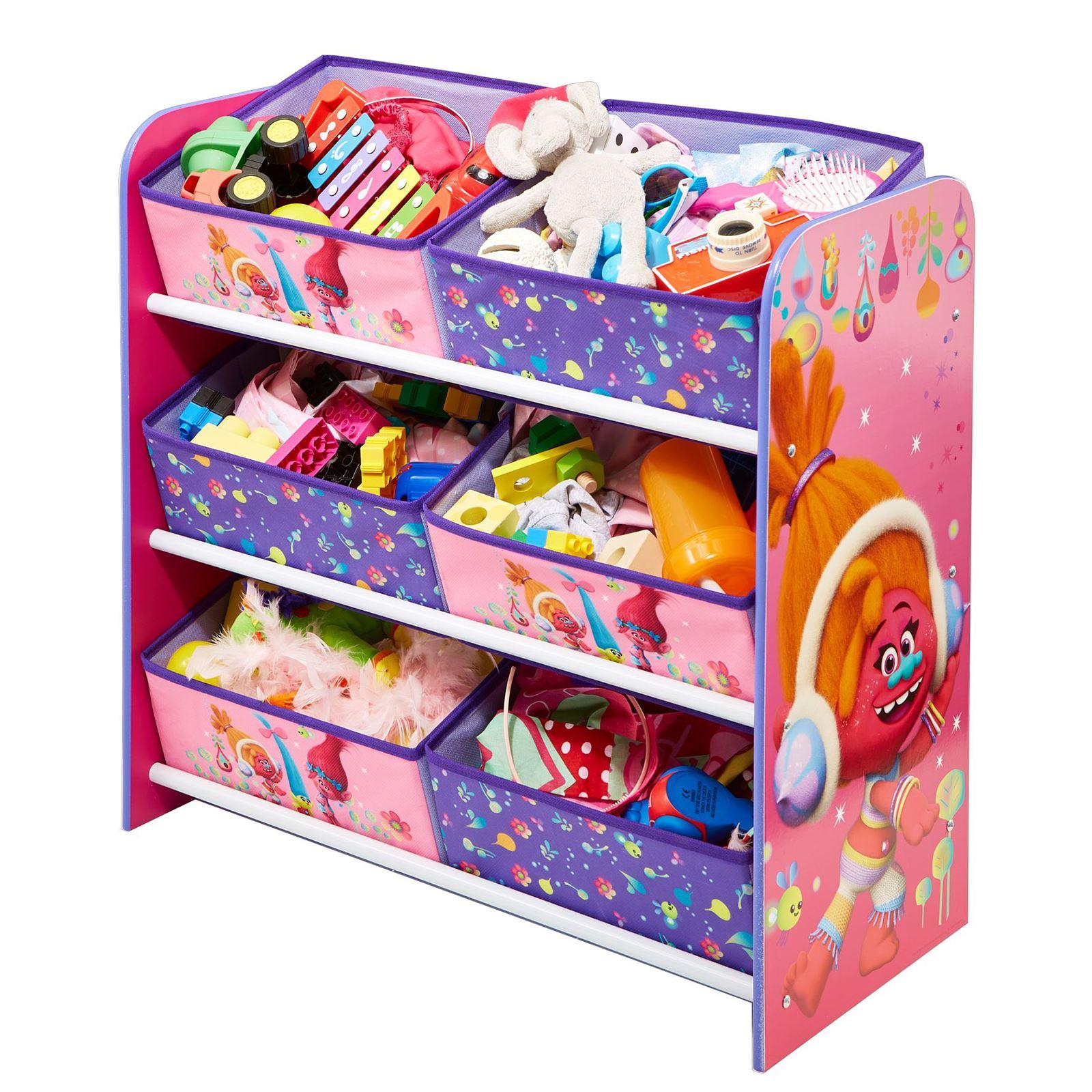 My Little Pony Metal Toy Storage Unit Box Organiser Kids: KIDS CHARACTER 6 BIN STORAGE UNIT BEDROOM FURNITURE DISNEY