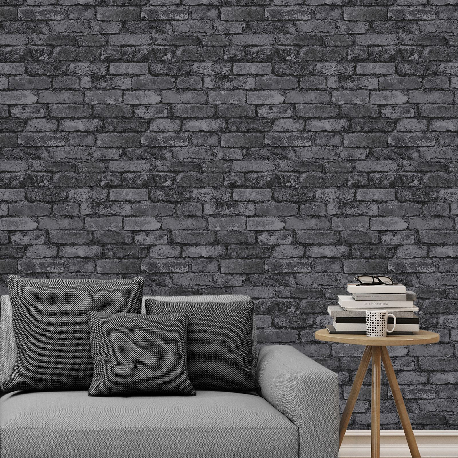 Fine decor rustic brick effect wallpapers feature wall for Wallpaper lounge feature wall