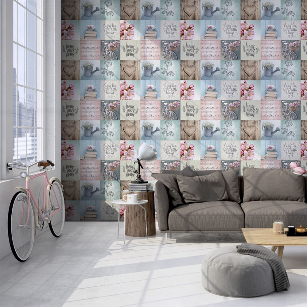 sweet home wallpaper designs. MURIVA GENERIC HOME WALLPAPER  LAZY DAYS POTTING SHED SWEET FEATURE WALL