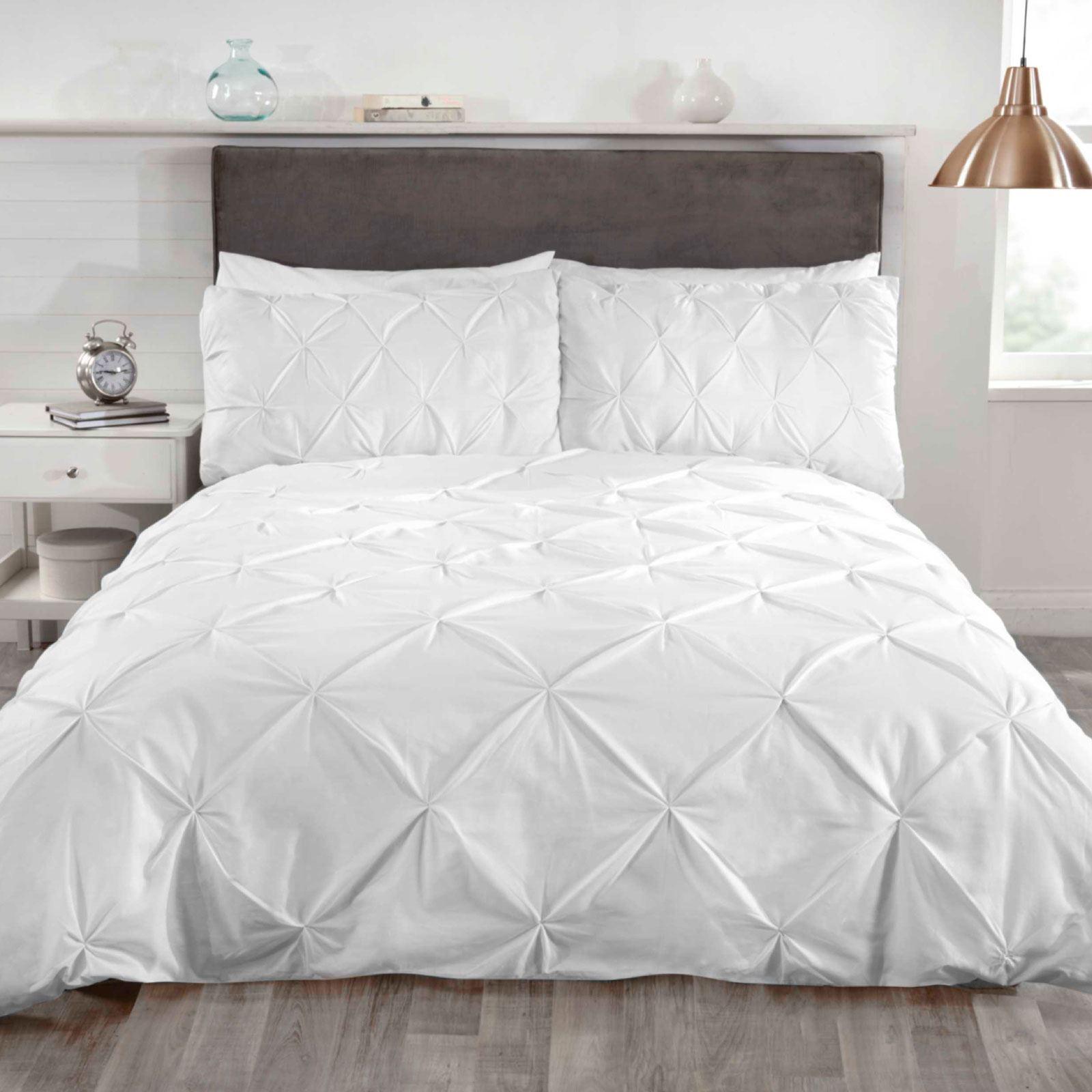 Balmoral Pin Tuck White King Size Duvet Cover Set Luxury Bedding