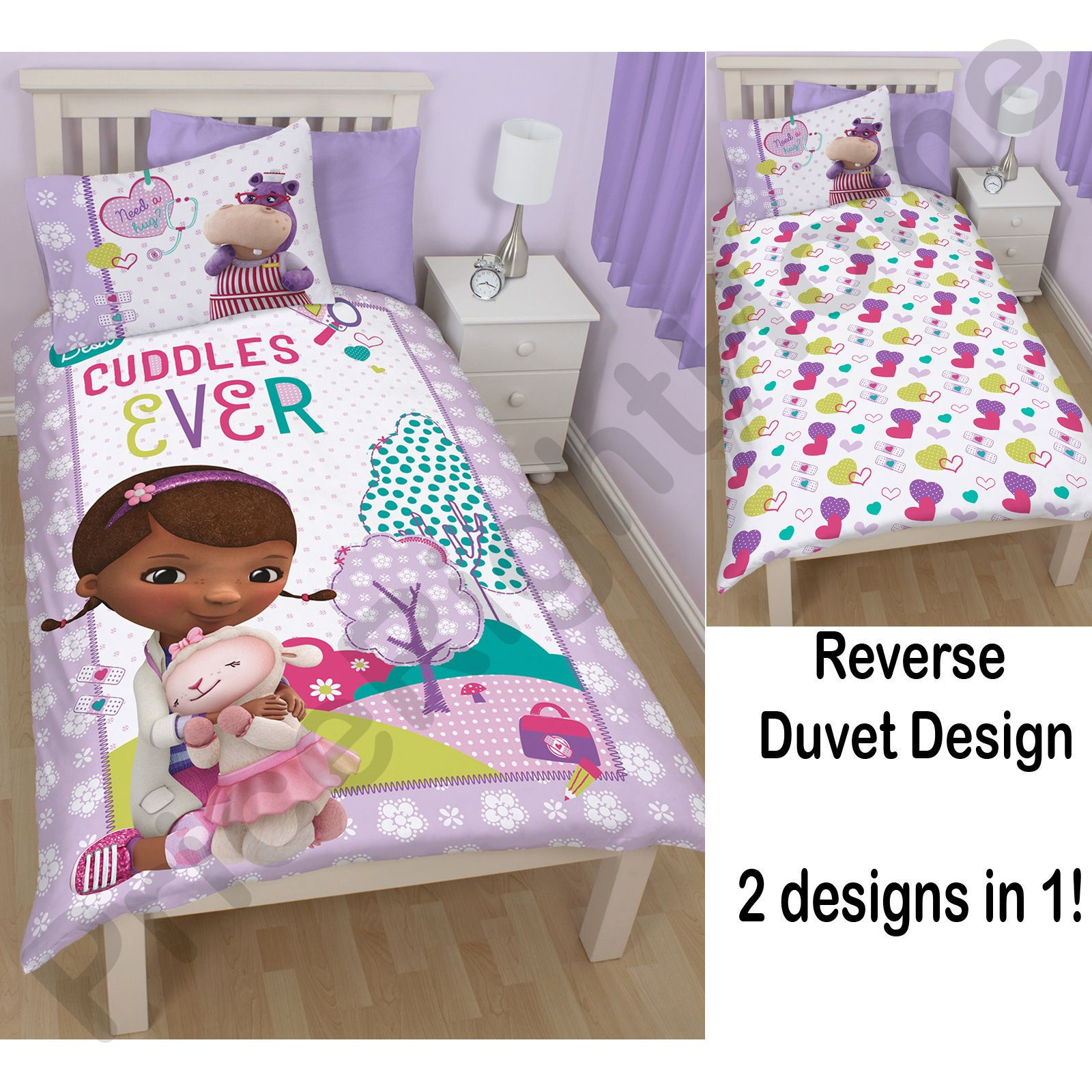DOC McSTUFFINS BEDROOM BEDDING DUVET COVERS IN SINGLE AND DOUBLE ...