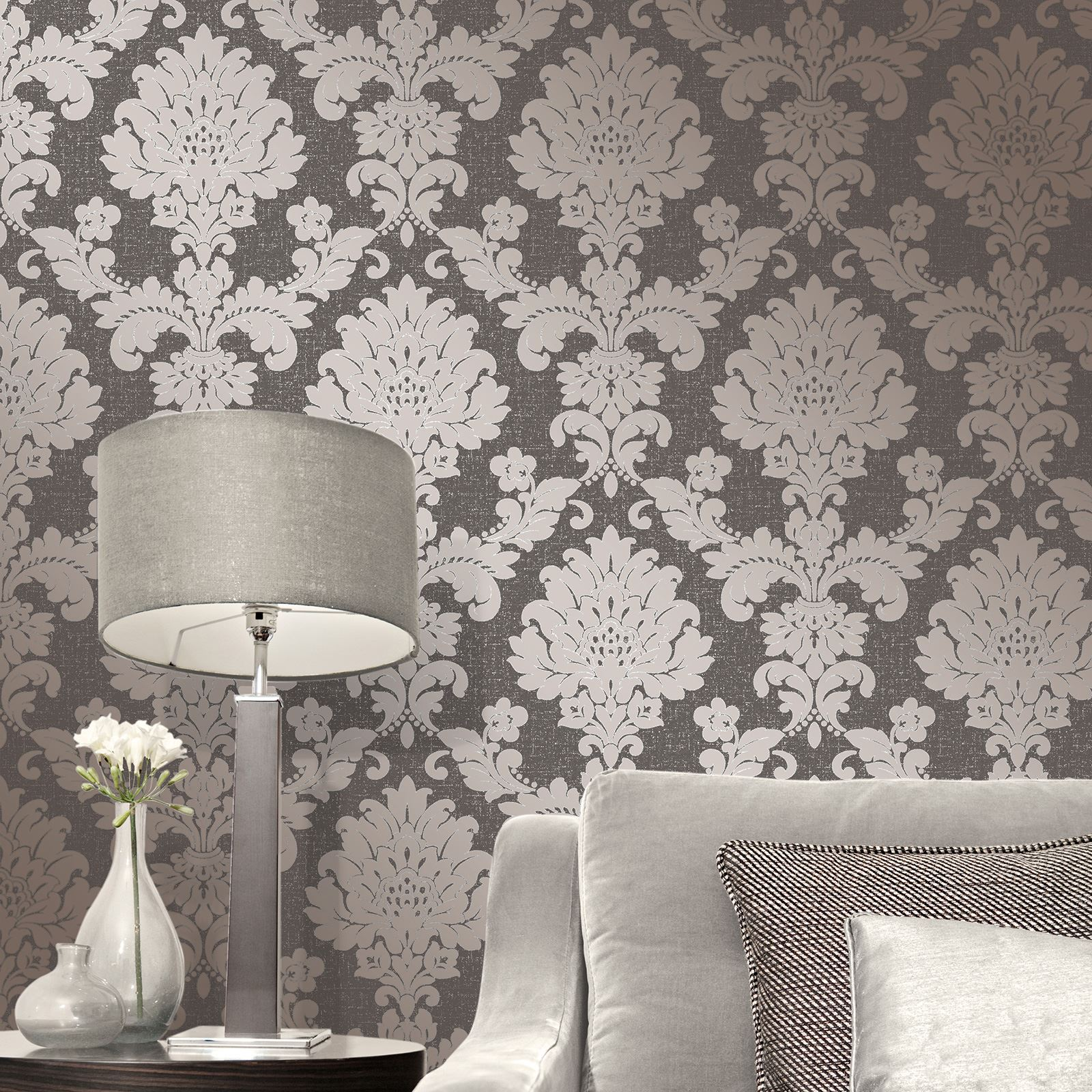 Fine Decor Quartz Damask Wallpaper Silver Gold Rose Gold