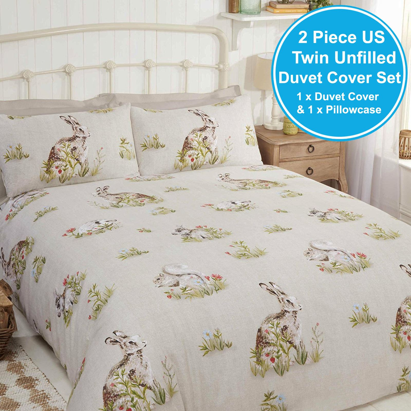 COUNTRY BUMPKIN SINGLE DUVET COVER SET HARES RABBITS SQUIRRELS NATURAL