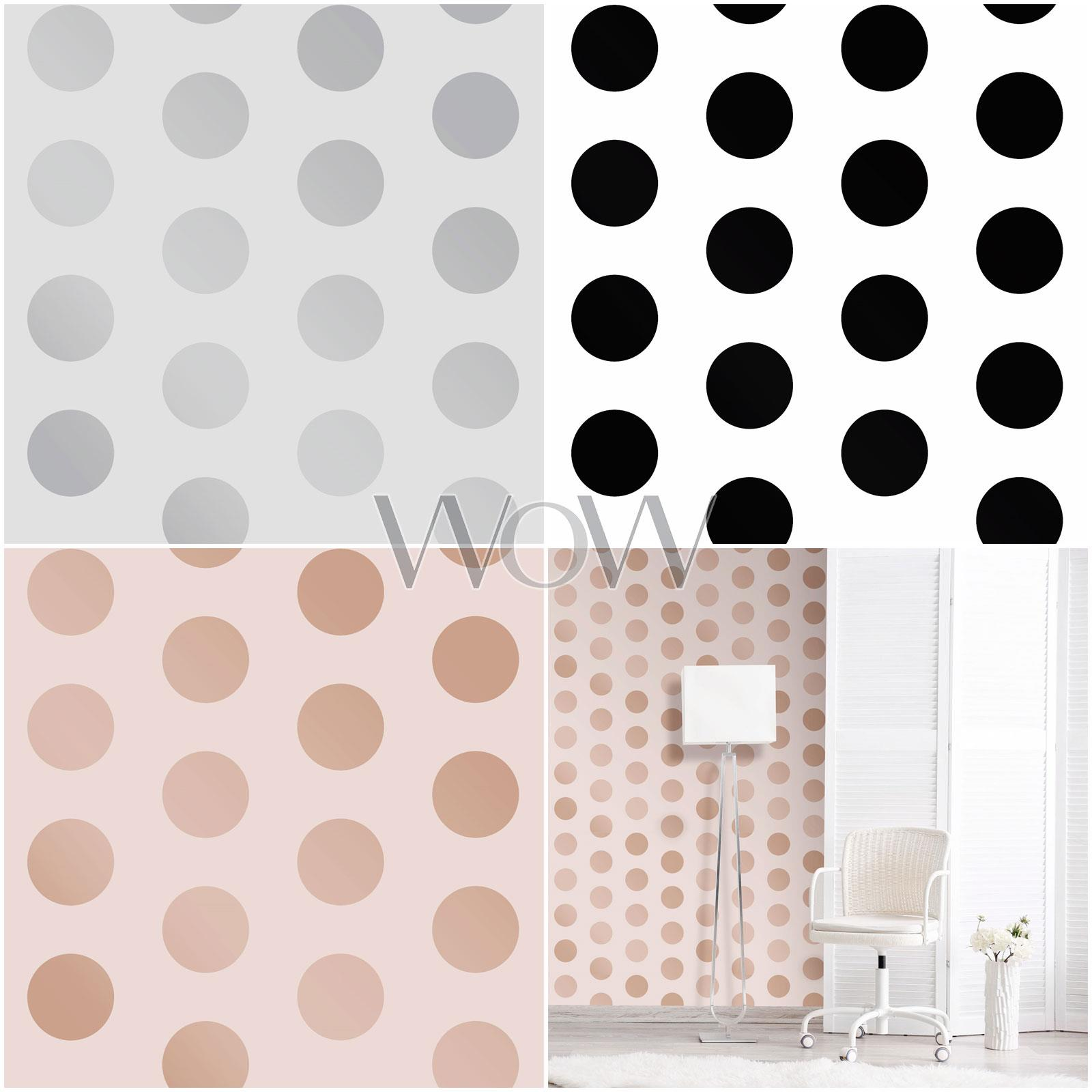 Details About Big Dots Polka Dot Wallpaper Rose Gold Grey Black White Metallic Or Matte