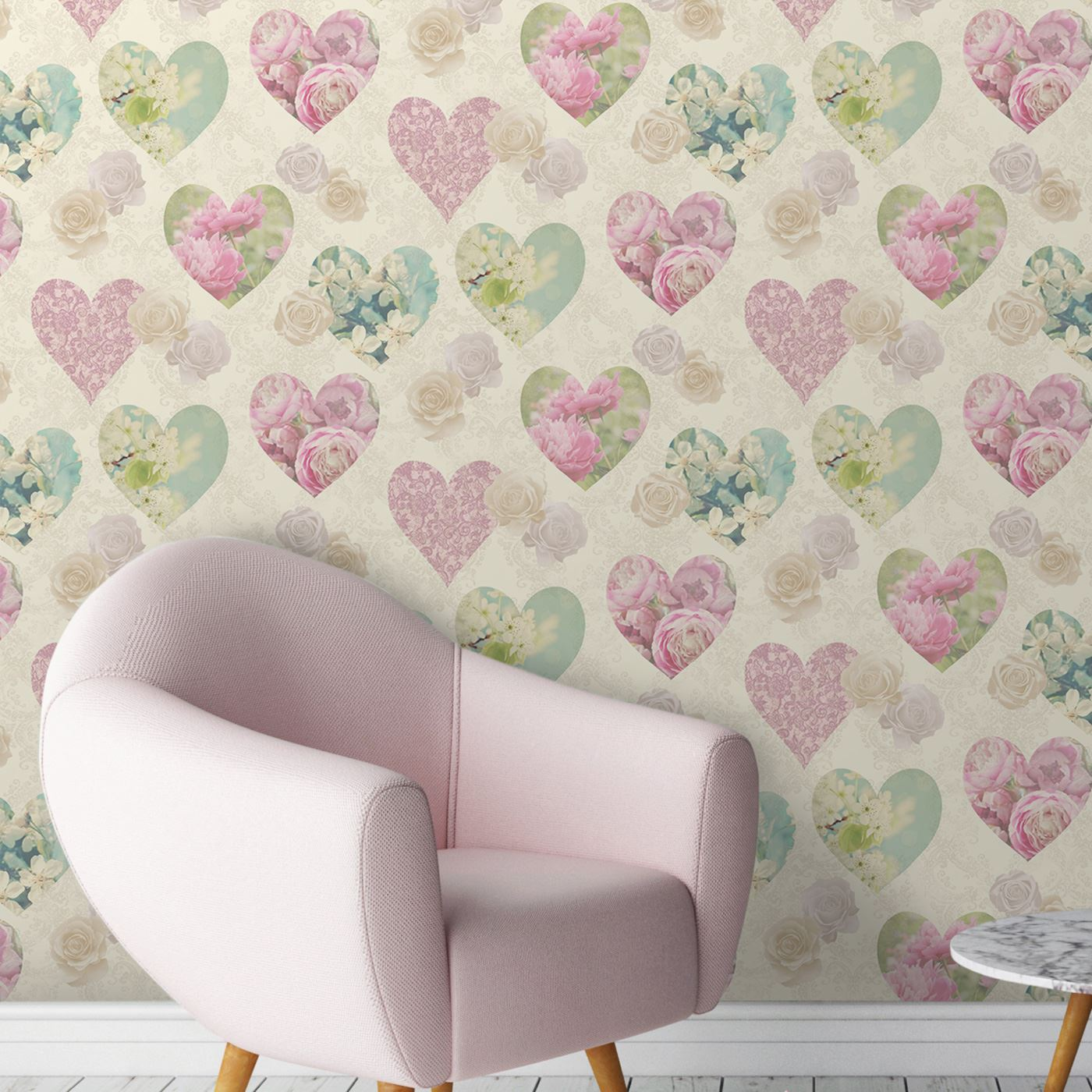 Designer Wallpaper Ideas Photos: SHABBY CHIC FLORAL WALLPAPER IN VARIOUS DESIGNS WALL DECOR