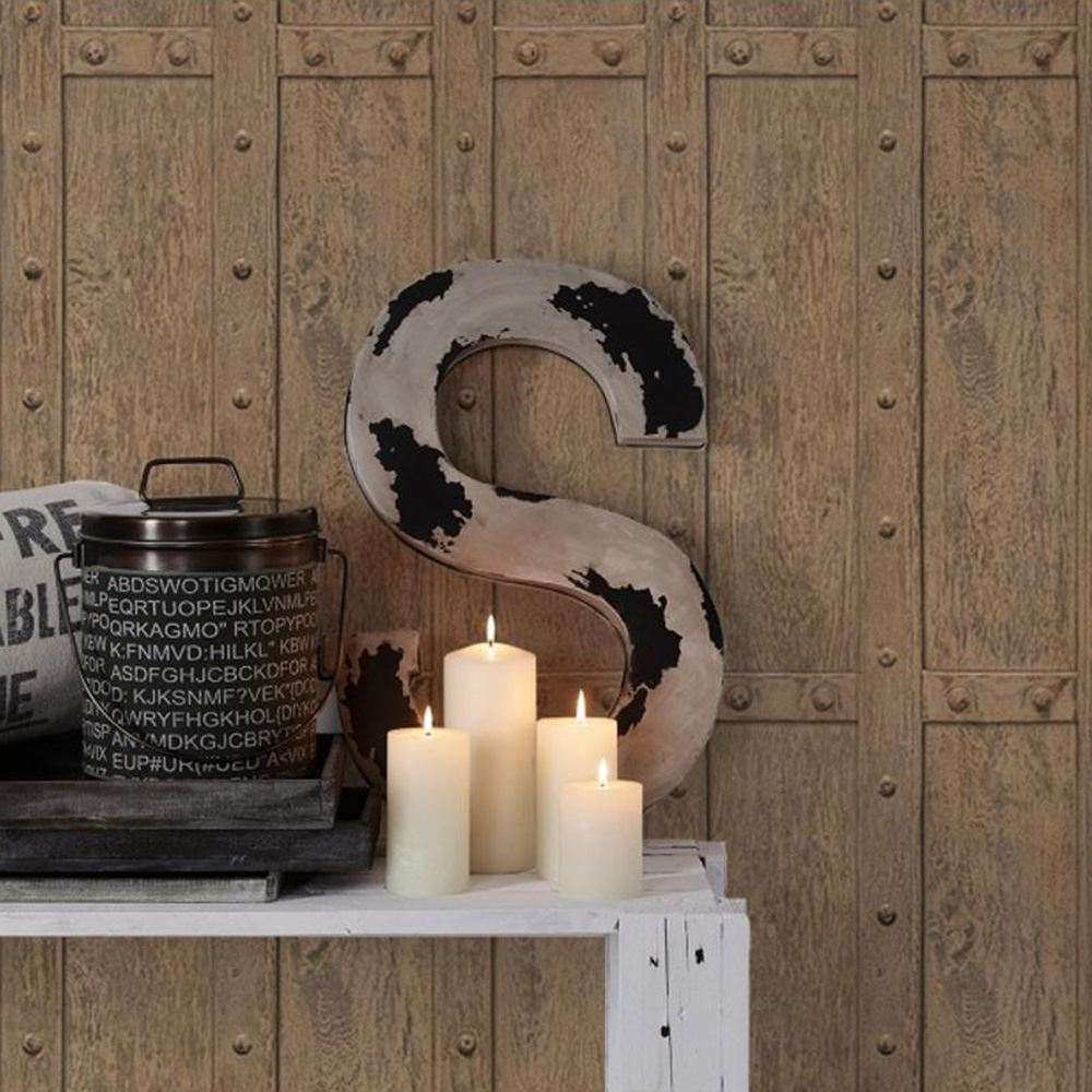 vintage holz panel nieten tapete braun as kreation 306841 holz neu ebay. Black Bedroom Furniture Sets. Home Design Ideas