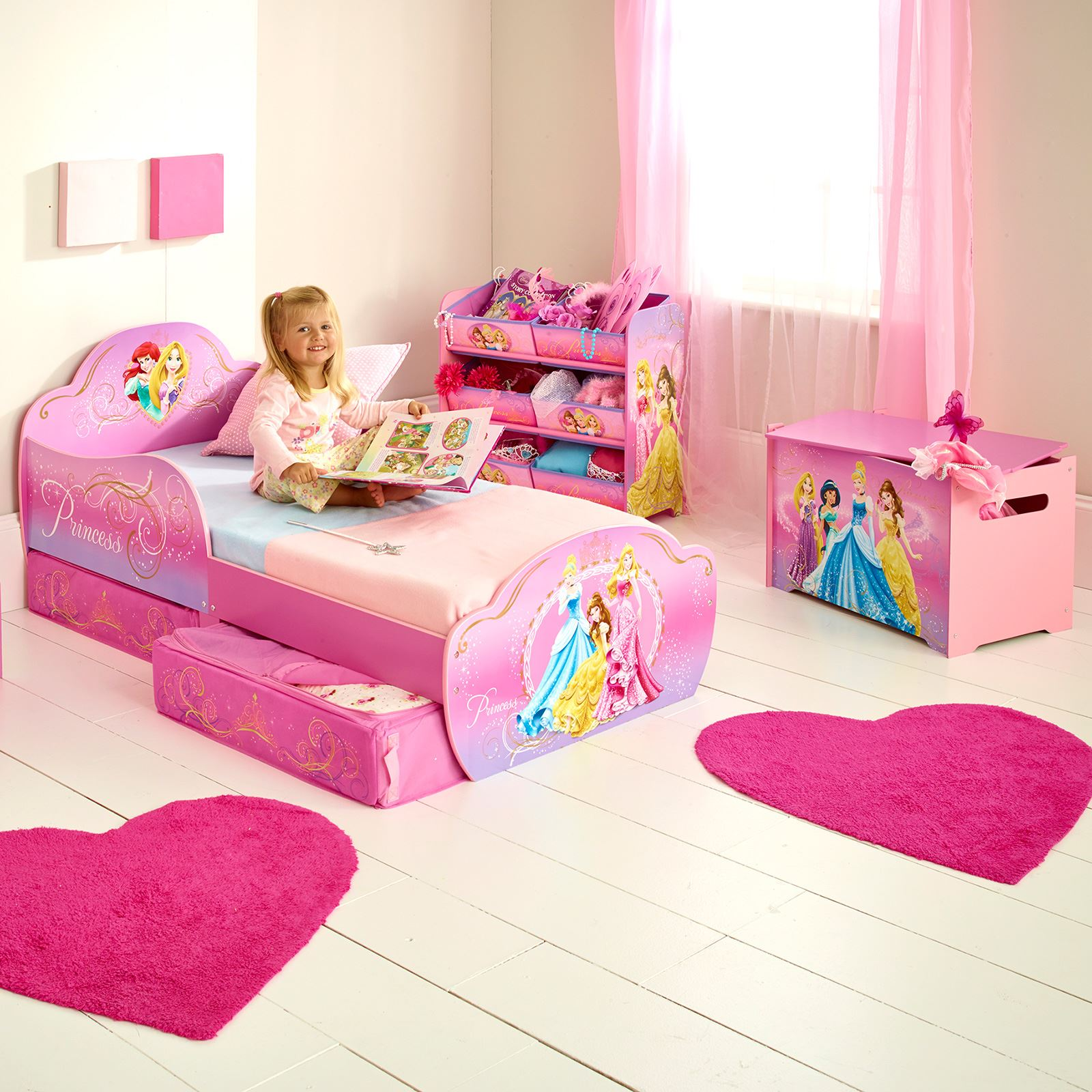 disney princess toddler junior bed with underbed storage mattress options ebay. Black Bedroom Furniture Sets. Home Design Ideas