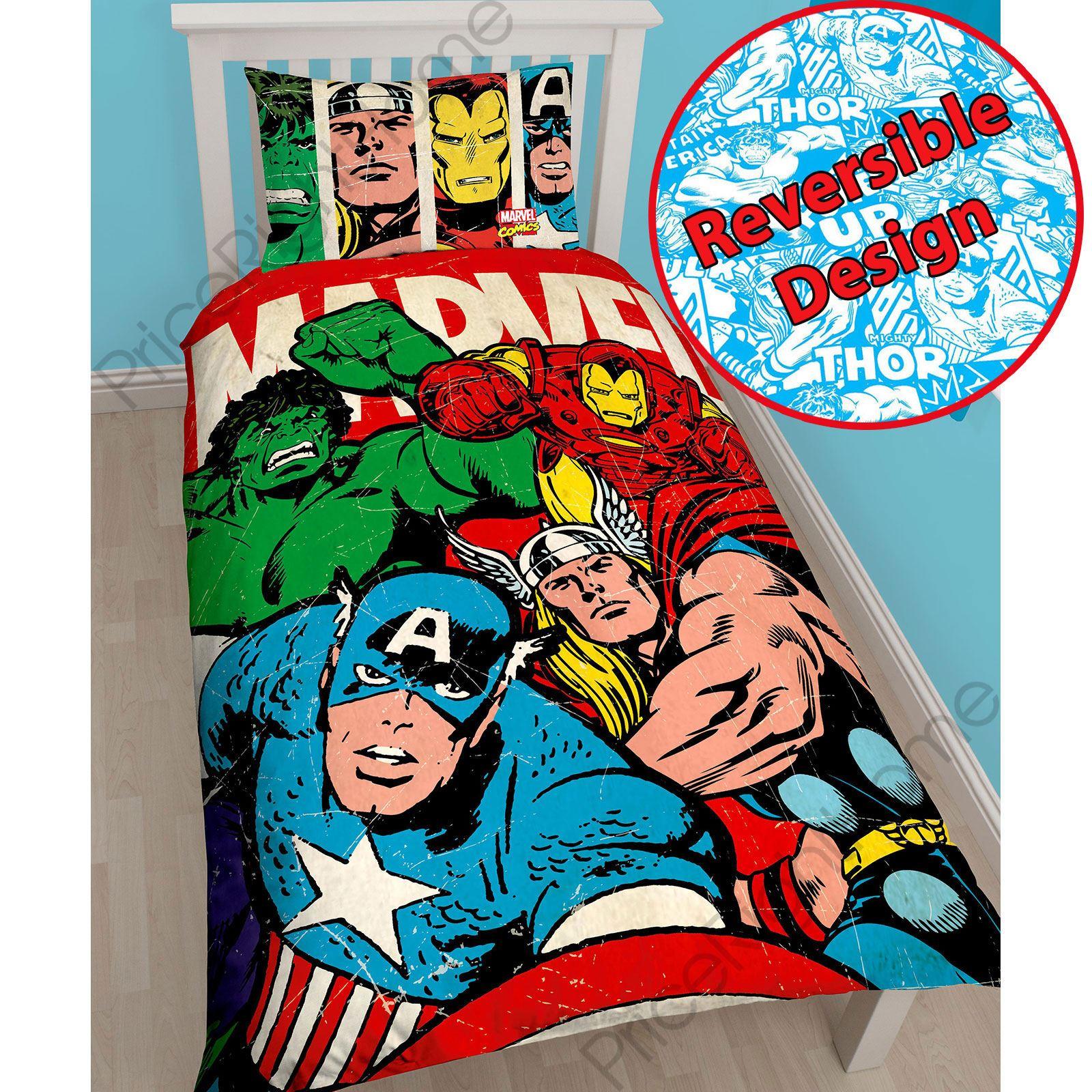 marvel comics strike single panel duvet cover set kids bedding official new