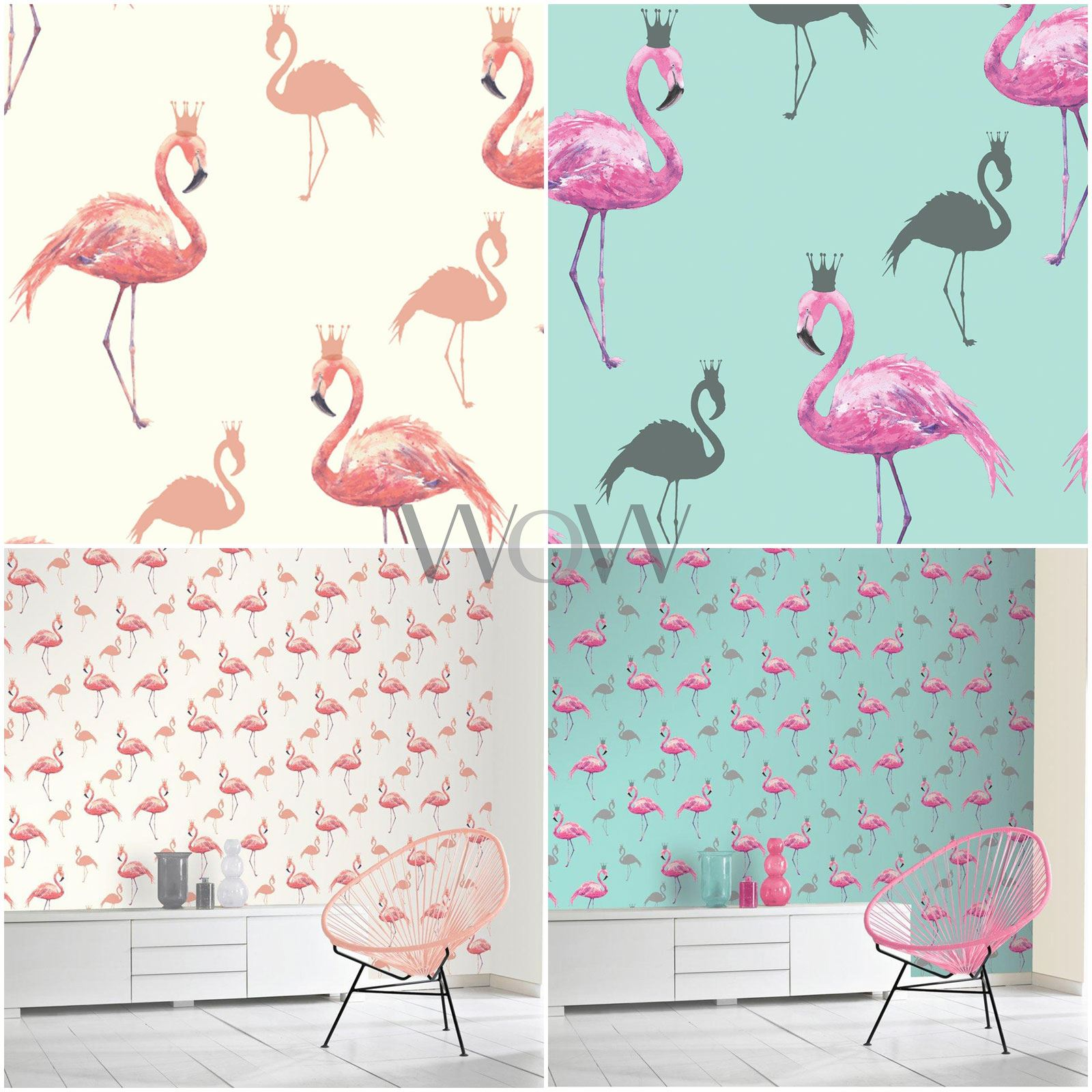 ARTHOUSE QUEEN FLAMINGO WALLPAPER GLITTER HIGHLIGHTS - CORAL & PINK / TEAL