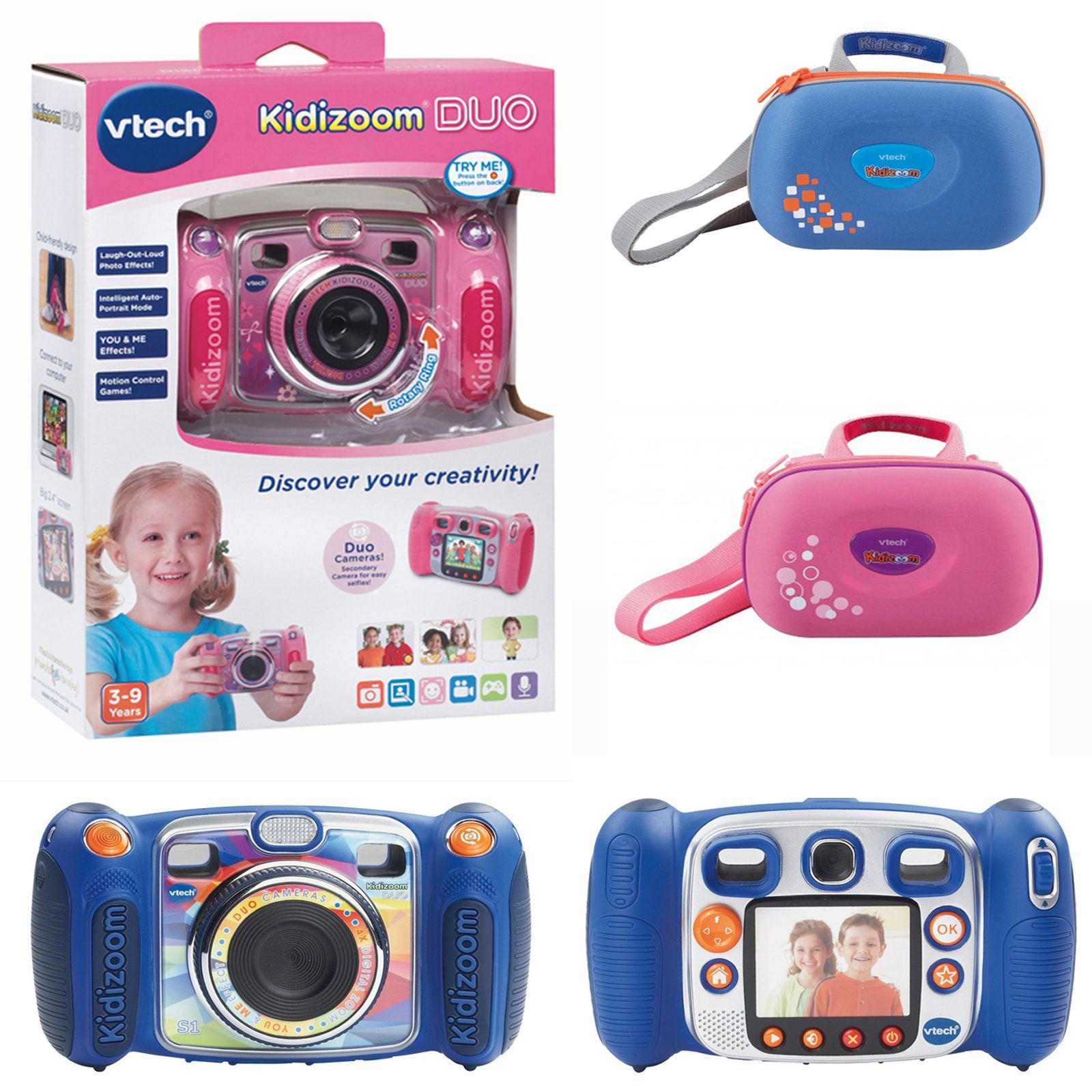 Vtech Kidizoom Duo Kids Digital Cameras In Blue And Pink