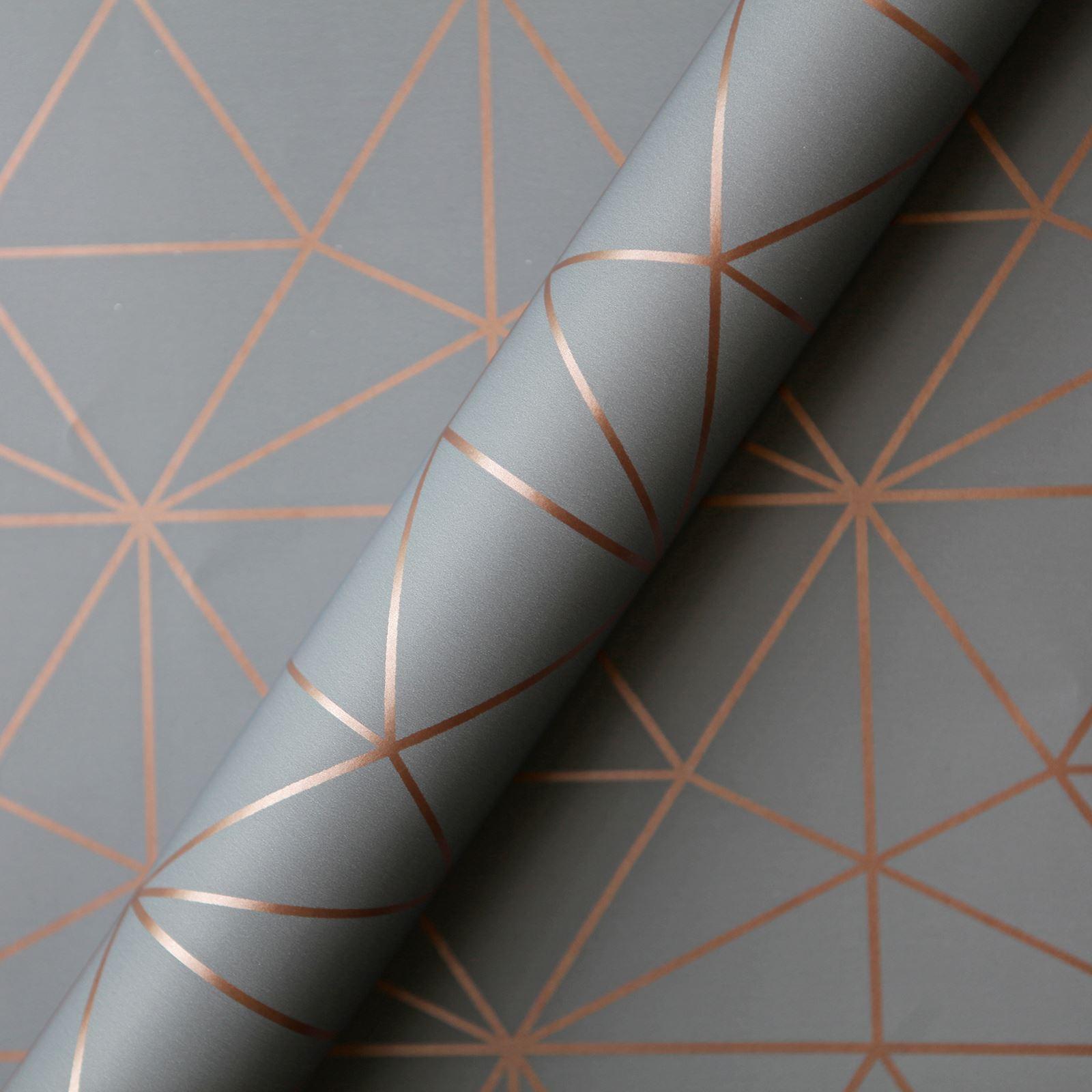 WORLD-OF-WALLPAPER-METRO-PRISM-TRIANGLE-GEOMETRIC-METALLIC-ROSE-GOLD-COPPER thumbnail 5