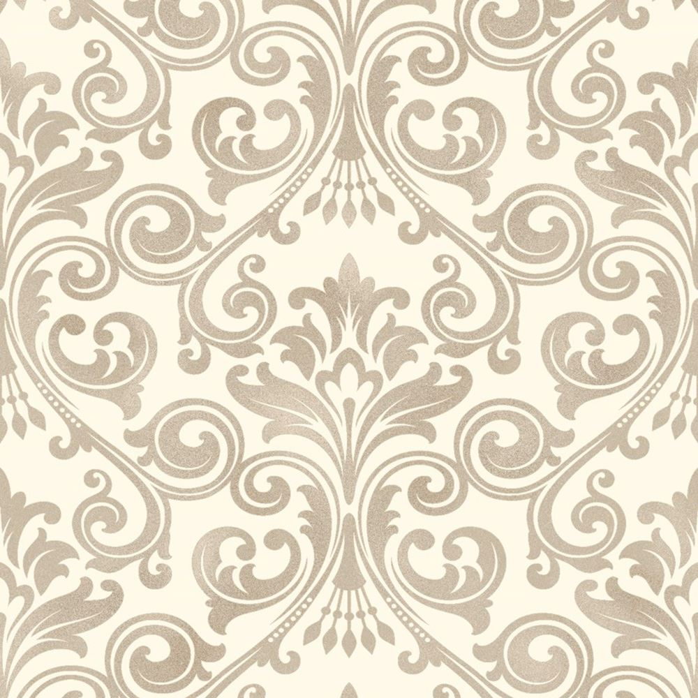 Fine decor wentworth damask wallpaper black grey cream for Black white damask wallpaper mural