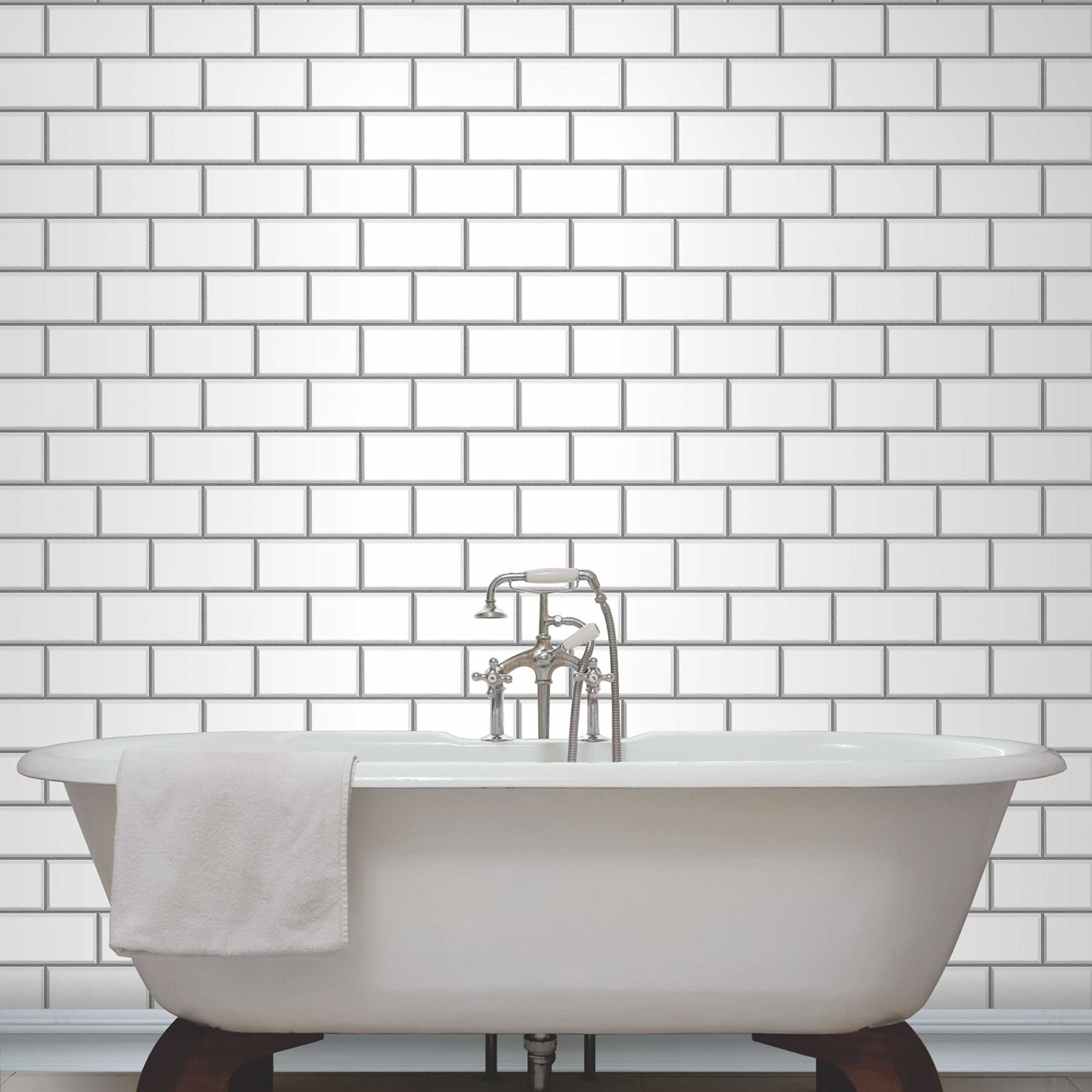Fine decor subway tile effect wallpaper black white for White subway tile