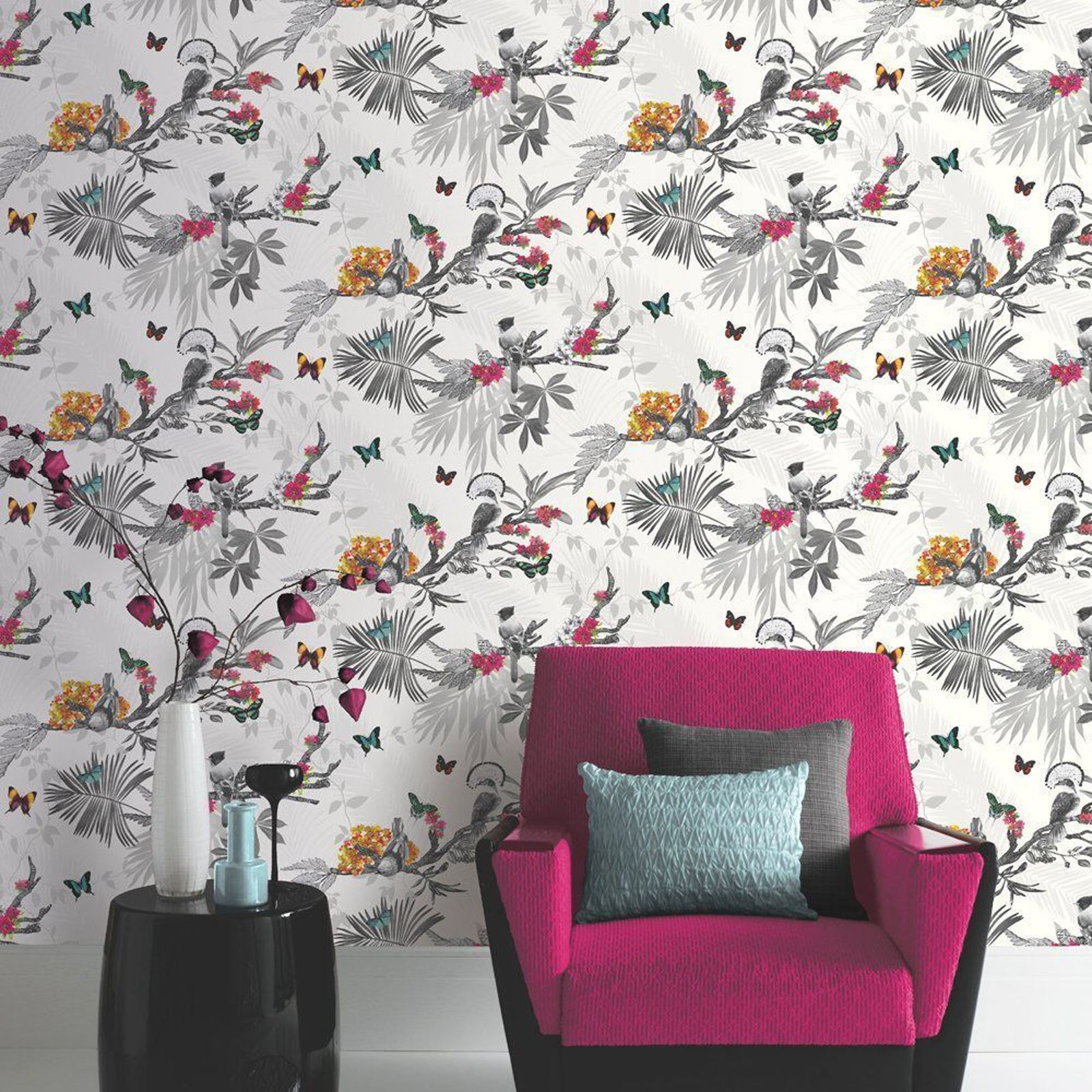 BUTTERFLY WALLPAPER GIRLS BEDROOM DECOR PINK WHITE TEAL