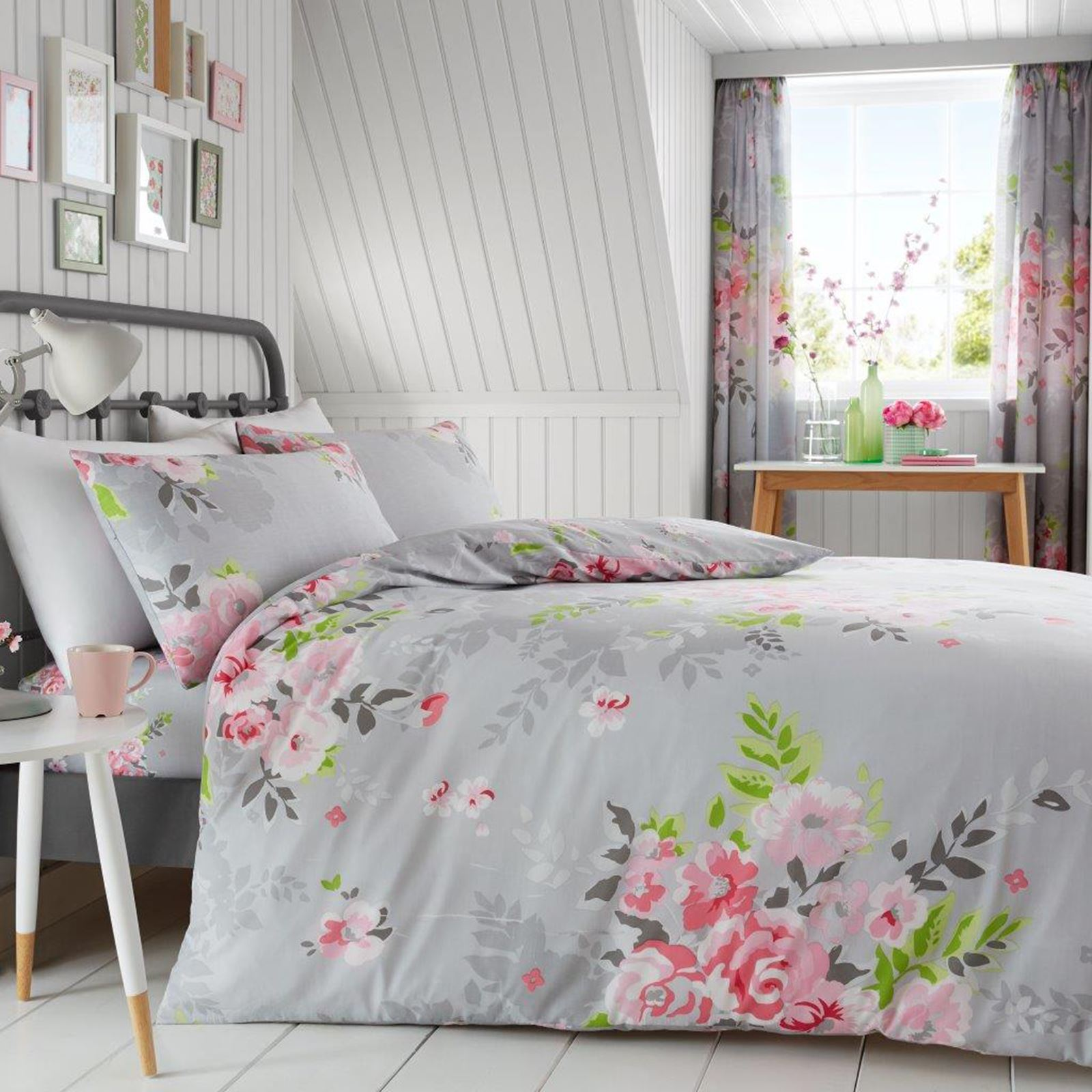 alice blumenmuster king size bettbezug kissenbezug set grau pink bettw sche 5051346133179 ebay. Black Bedroom Furniture Sets. Home Design Ideas