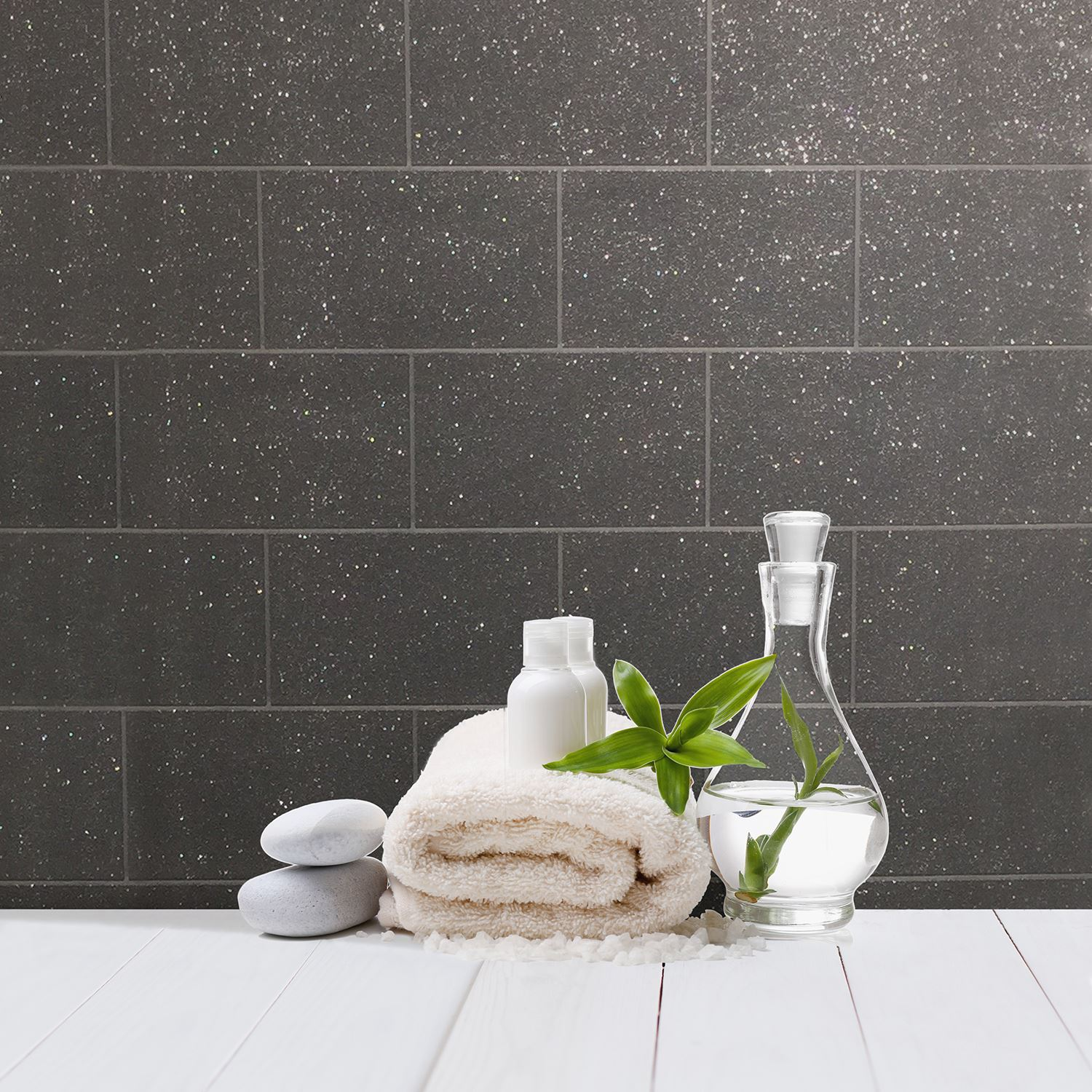 Details About Crown London Tile Glitter Wallpaper Black M1055 Bathroom